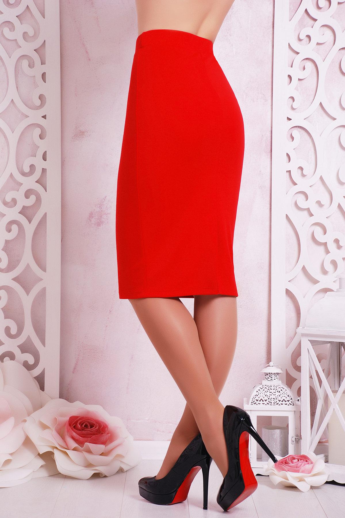 черная юбка-карандаш до колена. юбка мод. №20. Цвет: красный