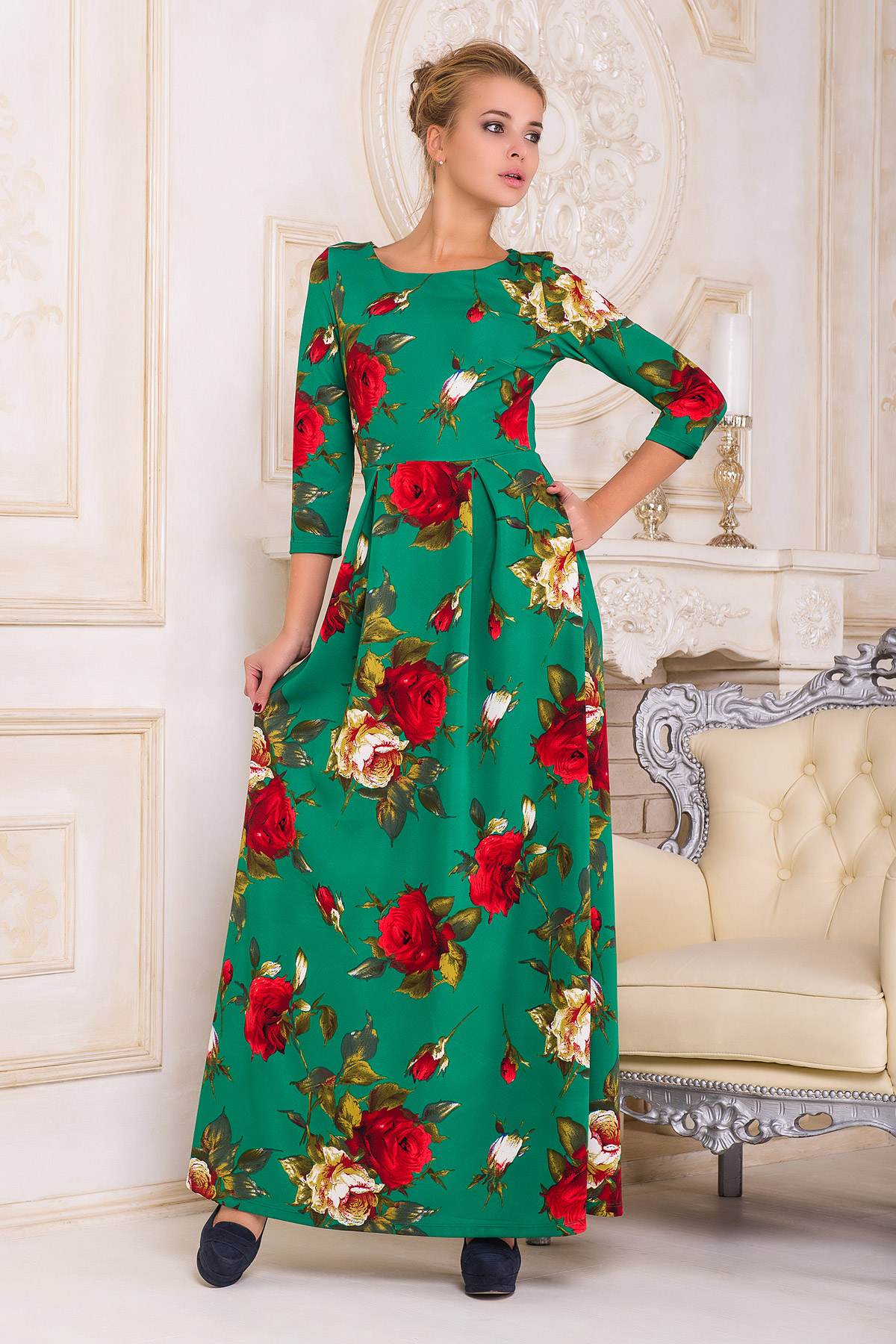 . платье Шарли2 д/р. Цвет: зеленый-роза крупная