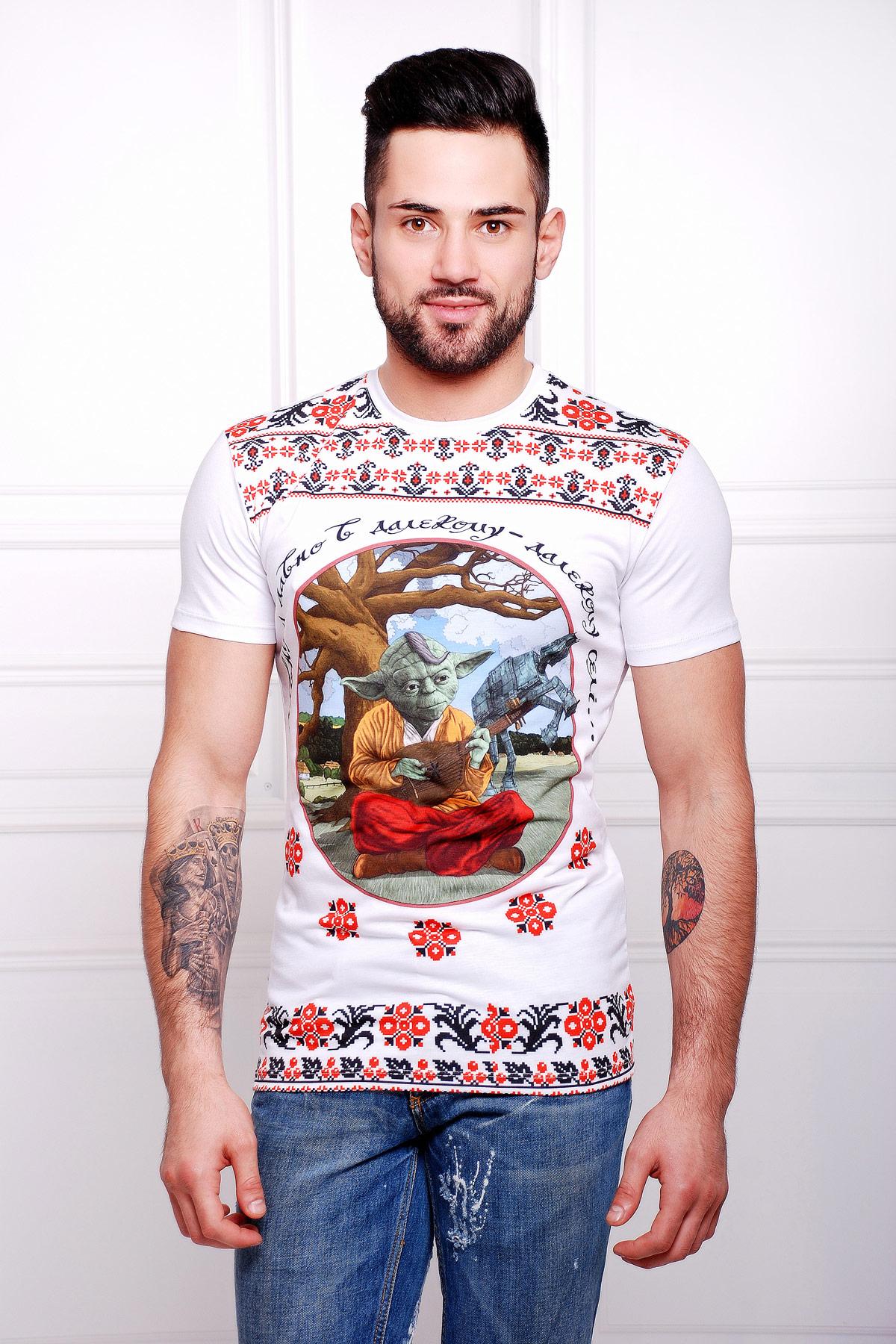 мужская футболка с принтом мастер Йода. Йода-кобзарь Футболка Men-2В. Цвет: принт