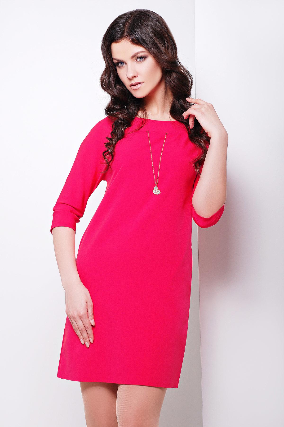 платье цвета фуксии с рукавом три четверти. платье Элика д/р. Цвет: красный