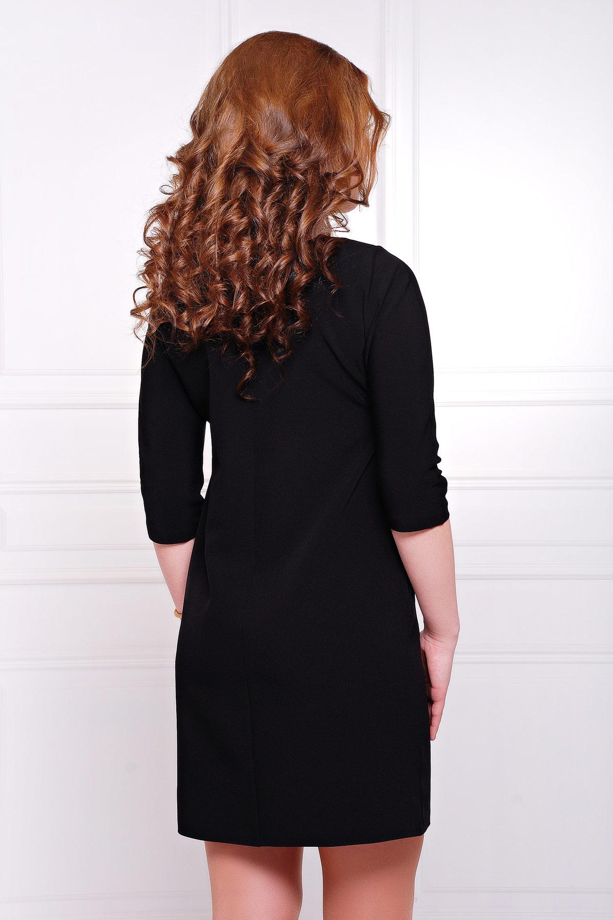 платье цвета фуксии с рукавом три четверти. платье Элика д/р. Цвет: черный