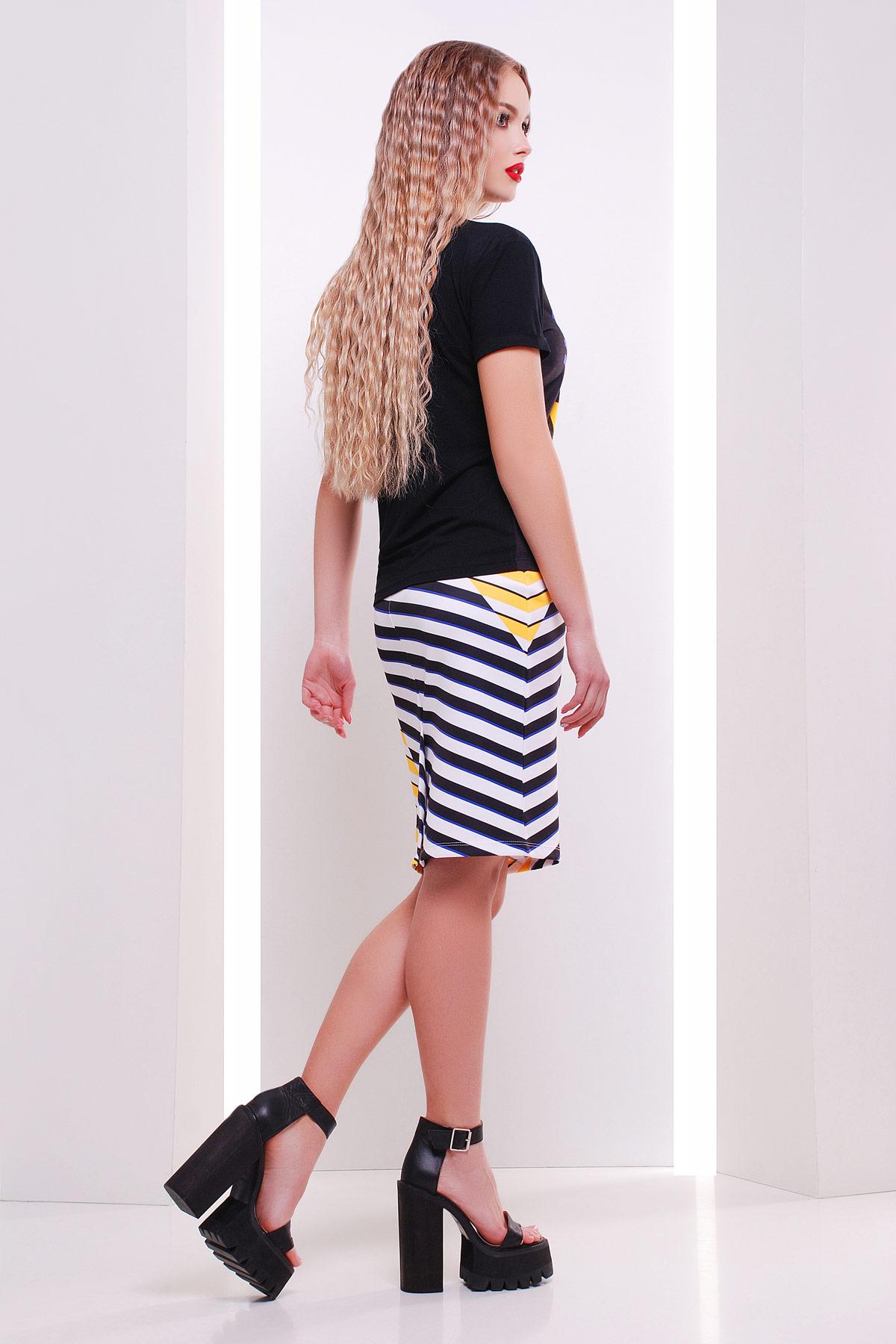 летняя полосатая юбка. Полоска юбка мод. №14 Оригами. Цвет: принт
