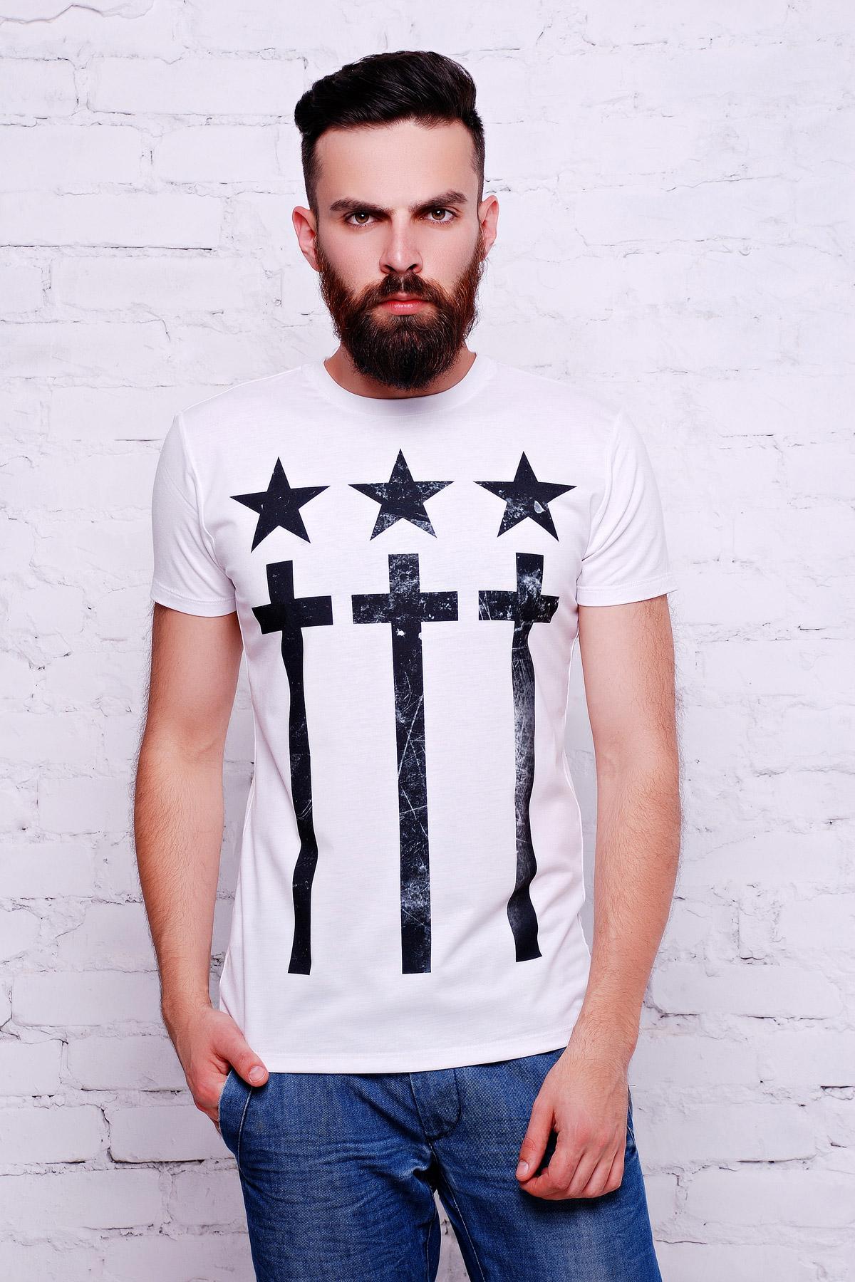 белая мужская футболка с крестами на принте. Крест Футболка Men-2В. Цвет: принт
