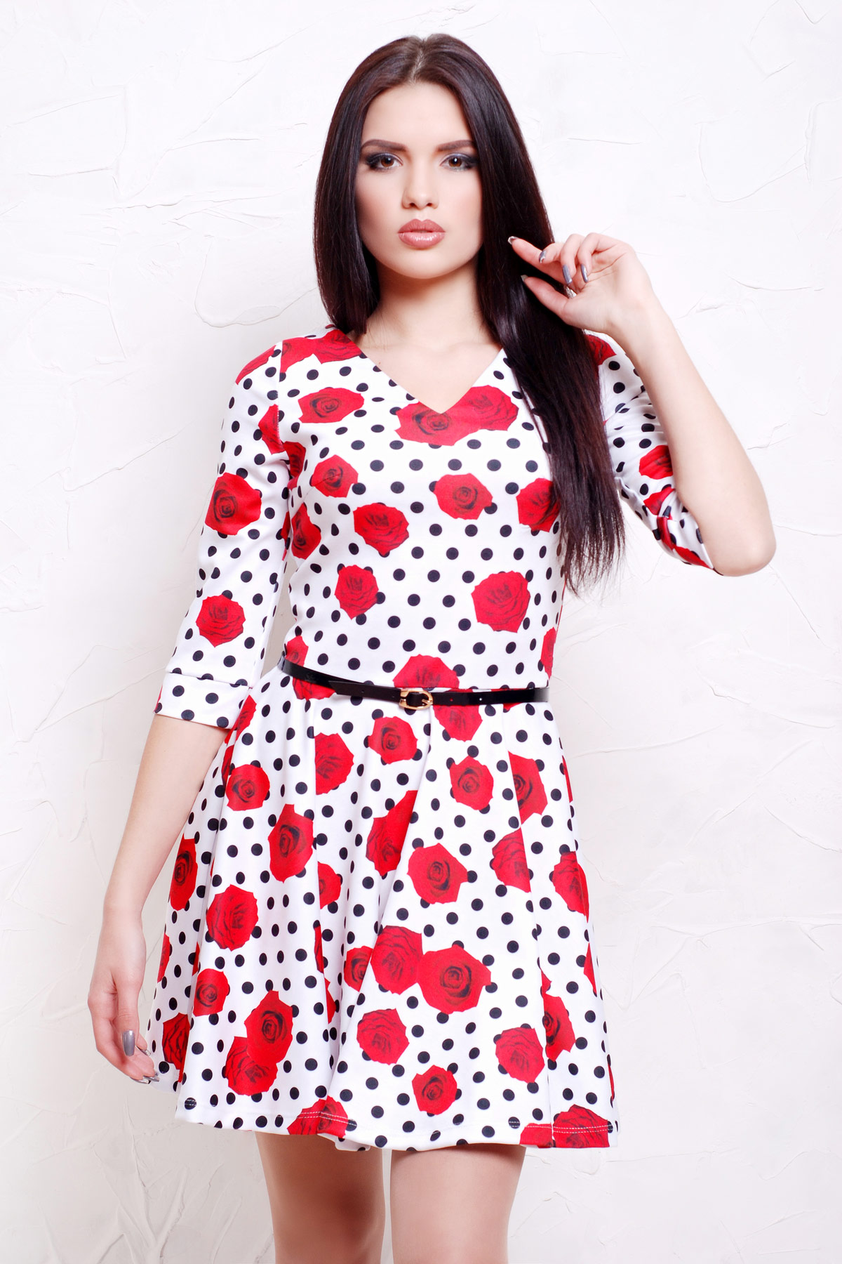 Розы-горох мелкий платье Мая д/р