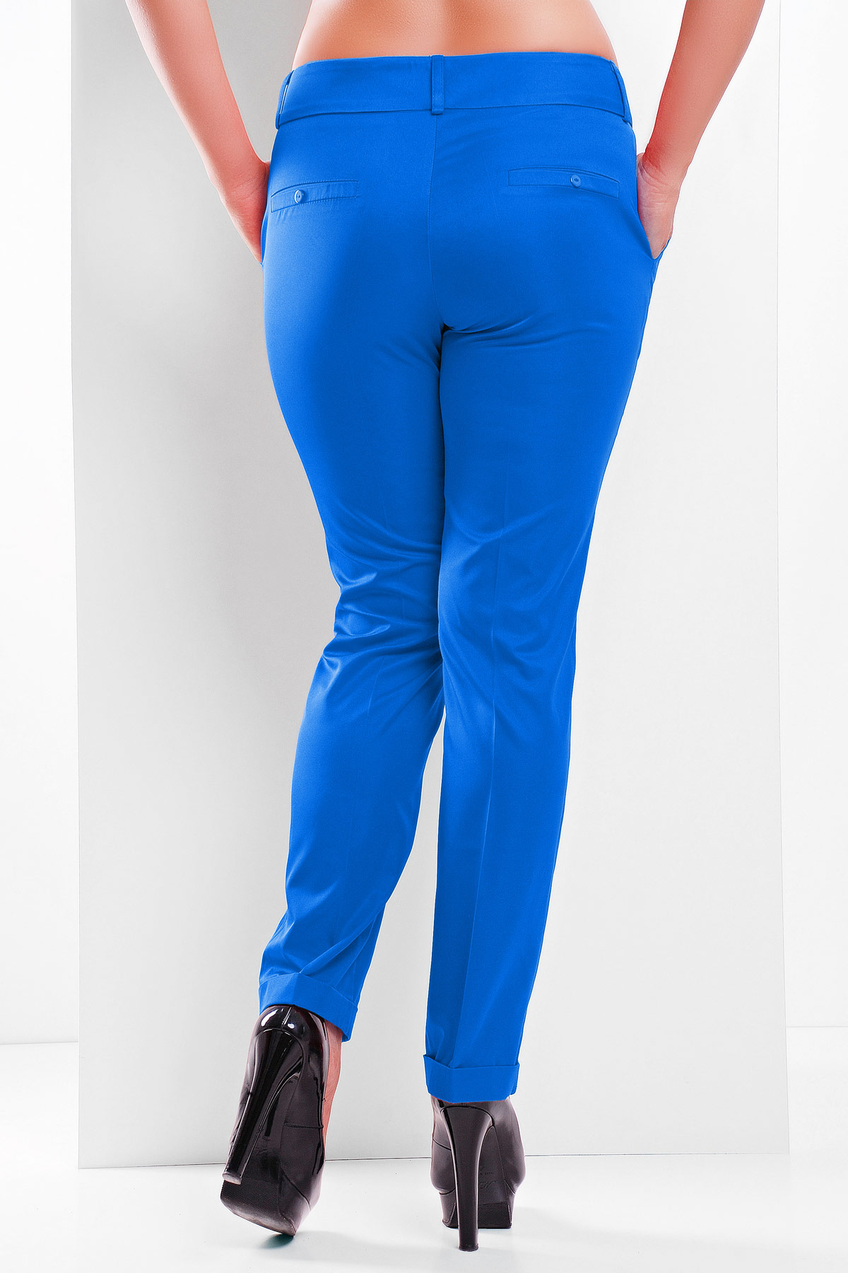 женские белые классические брюки большого размера. брюки Хилори-Б. Цвет: электрик