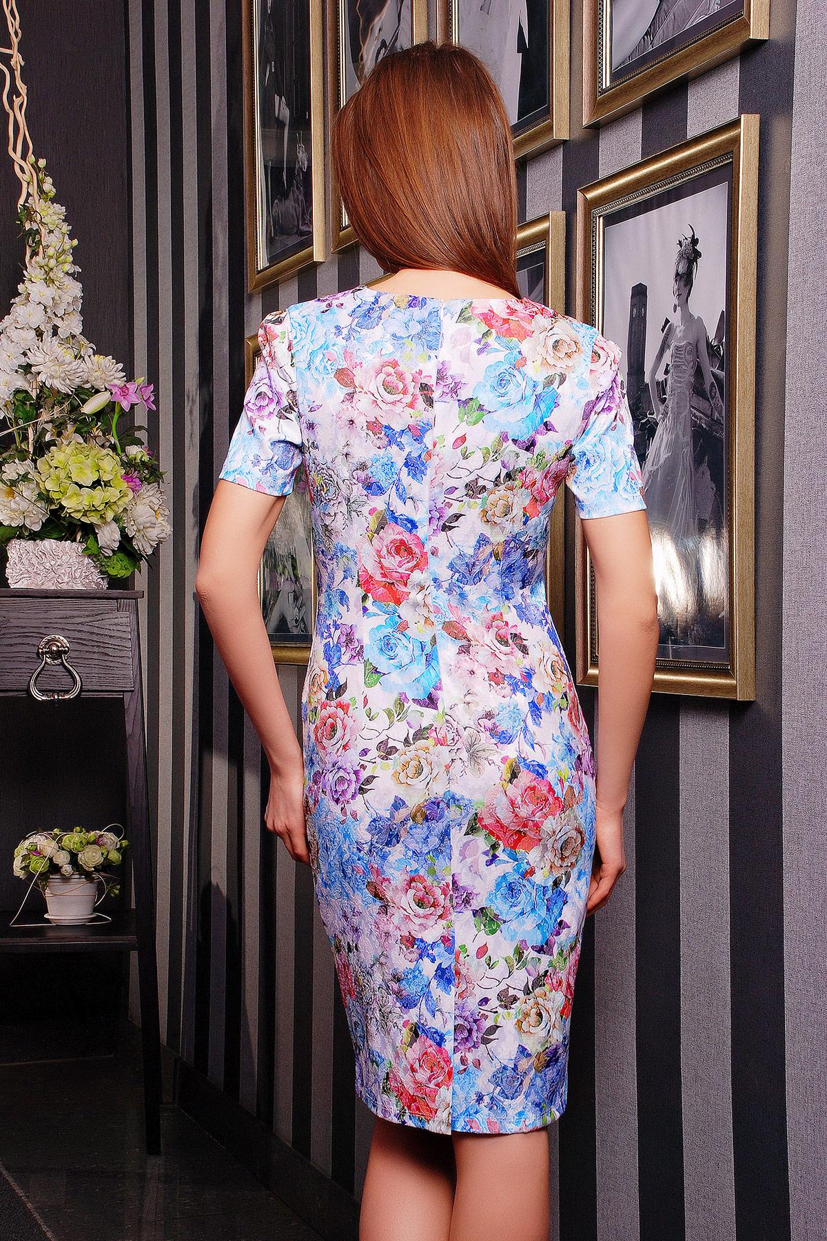 . платье Энжи к/р. Цвет: белый-голуб.цветы