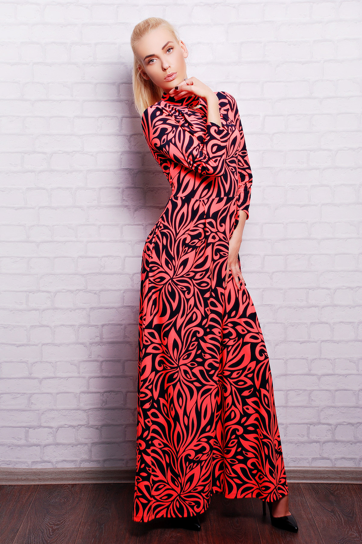 . платье Шарлота2 д/р. Цвет: ультра роз.-т.синий узор