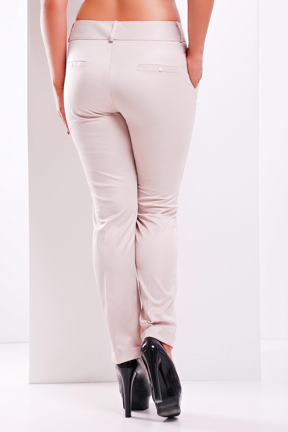 женские белые классические брюки большого размера. брюки Хилори-Б. Цвет: св. бежевый