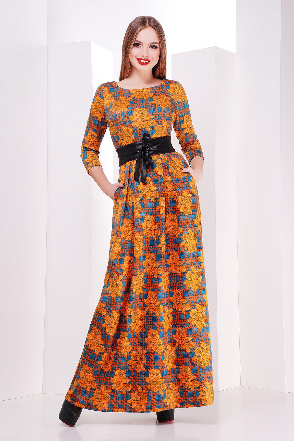 Серое платье макси, украшенное лапкой и розами. платье Шарли д/р. Цвет: оранжевый-лапка-роза