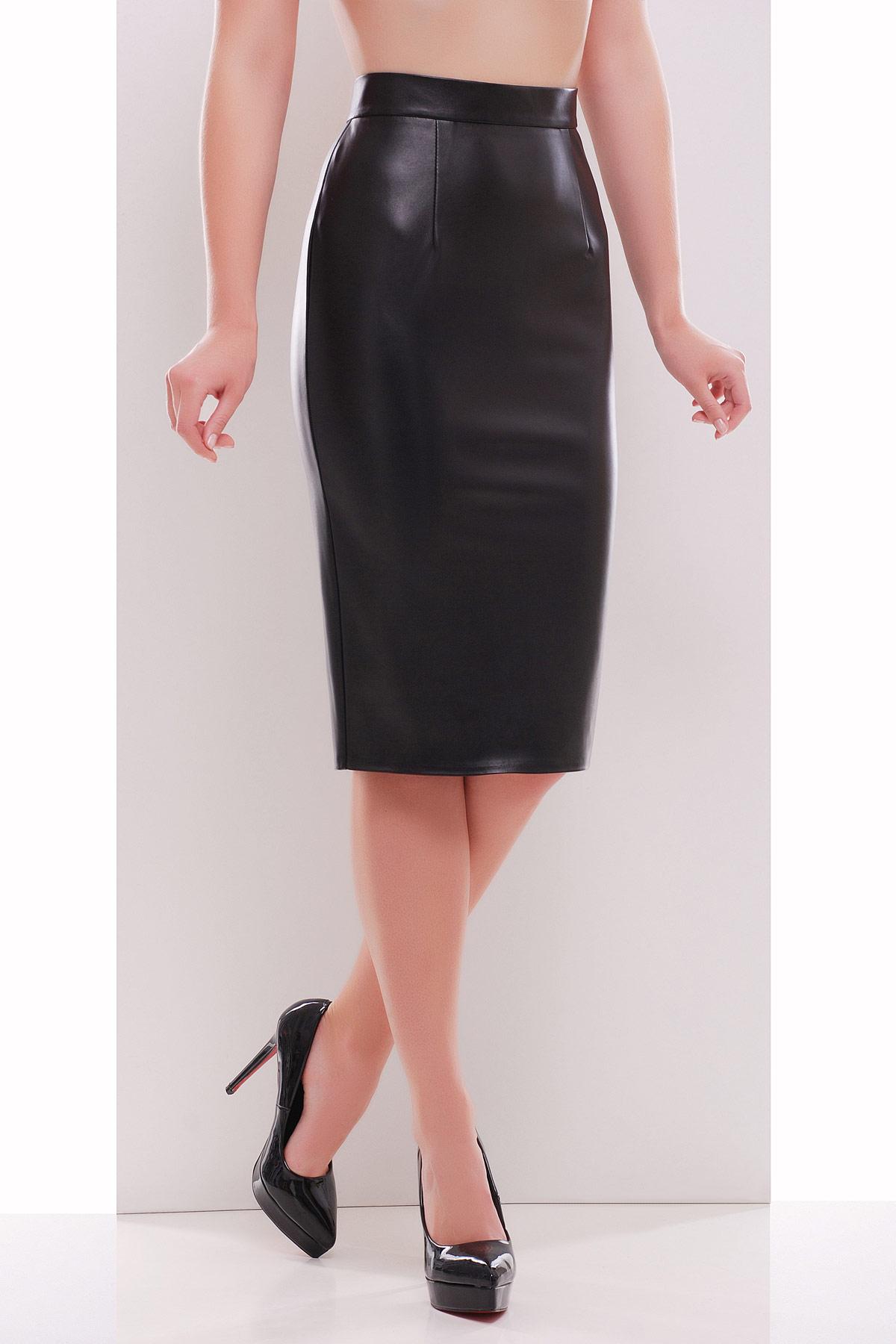 черная юбка карандаш из экокожи. юбка мод. №29 (кожа). Цвет: черный
