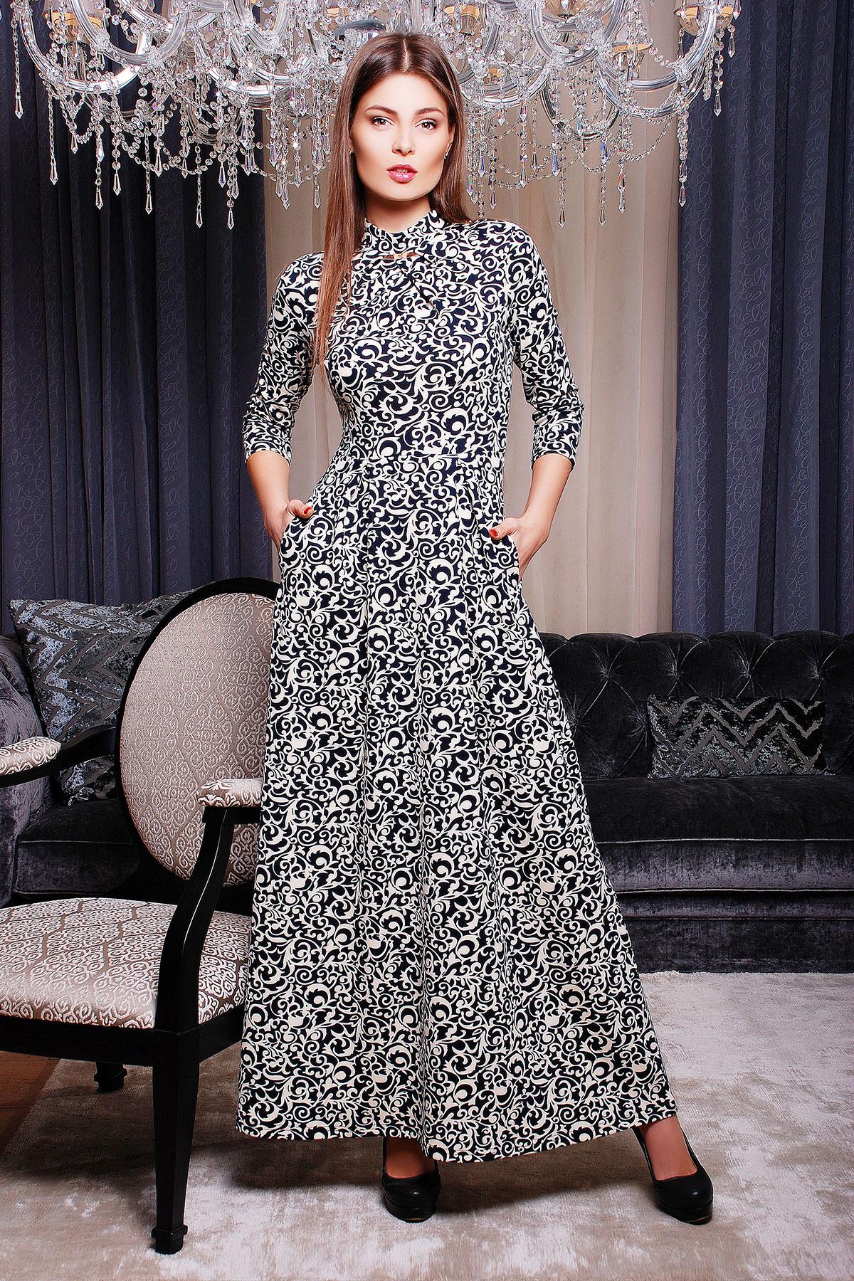 . платье Шарлота д/р. Цвет: молоко-черный узор