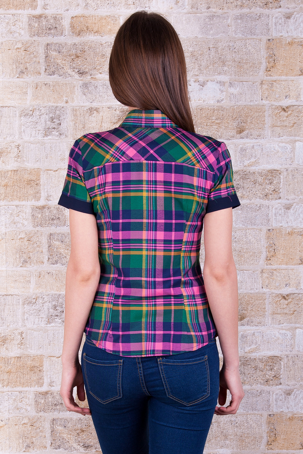 . блуза Шотландка к/р. Цвет: зеленый-т.синяя отделка