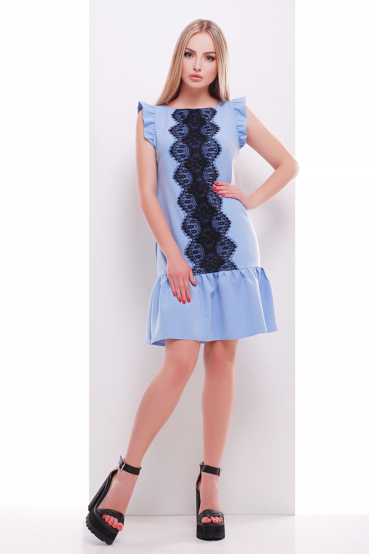мятное платье с кружевом. платье Южана б/р. Цвет: голубой