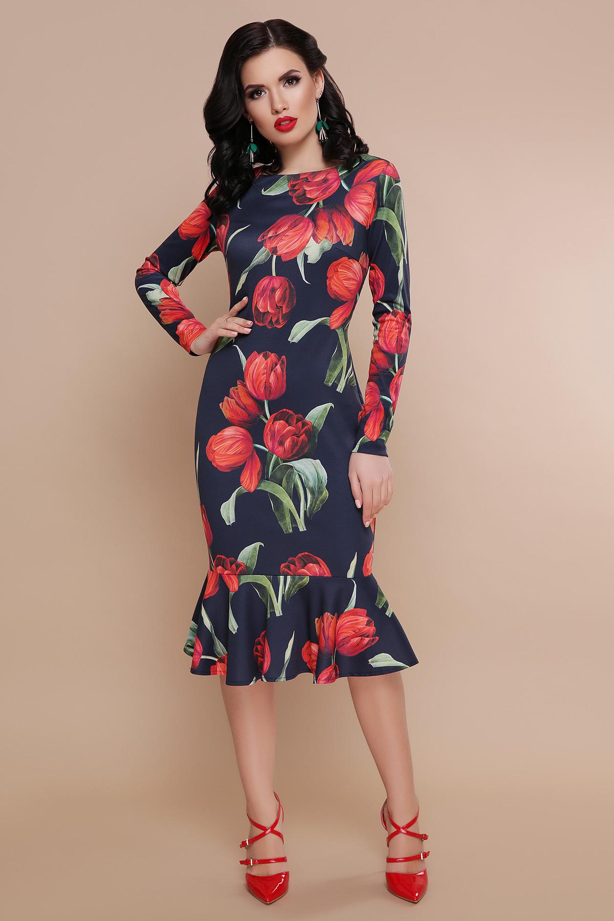 a15768f52dd ... Тюльпаны красные платье Фаина д р - черный . . Цвет  черный