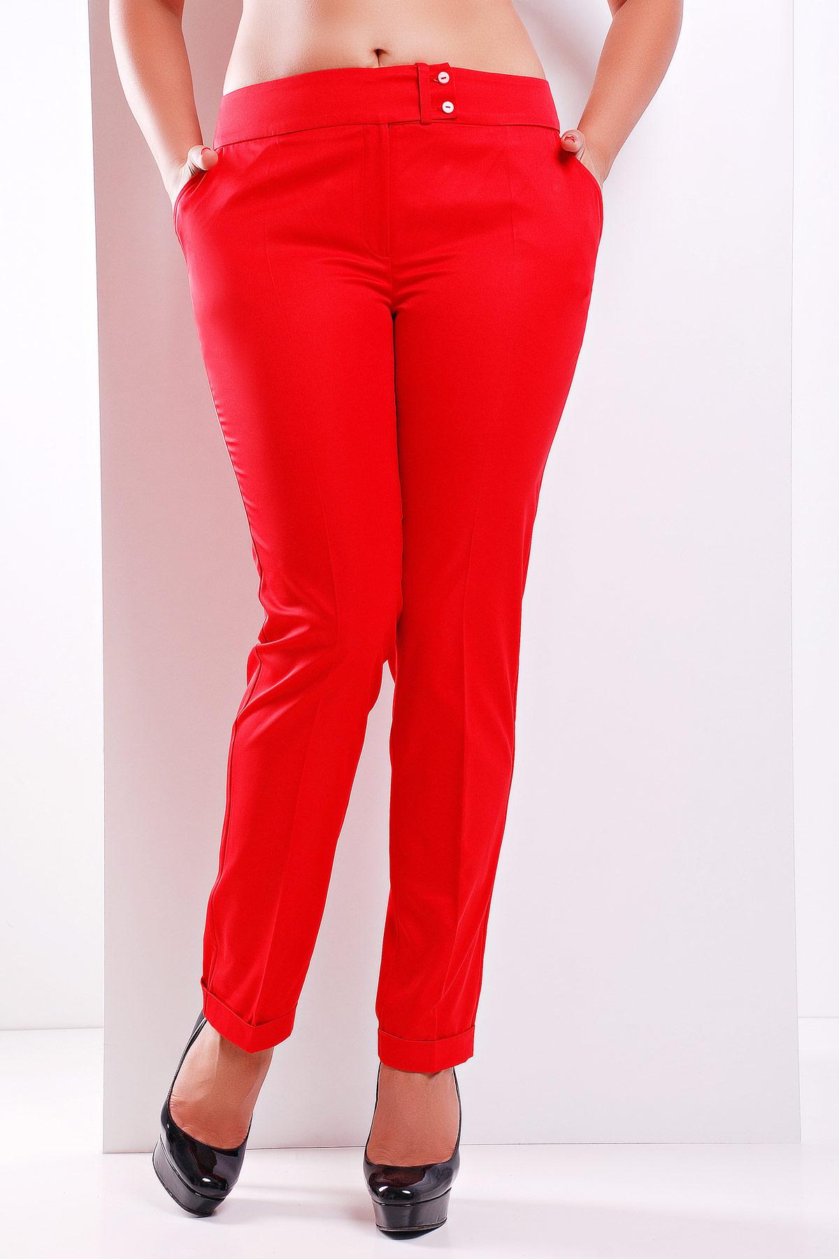 женские белые классические брюки большого размера. брюки Хилори-Б. Цвет: красный