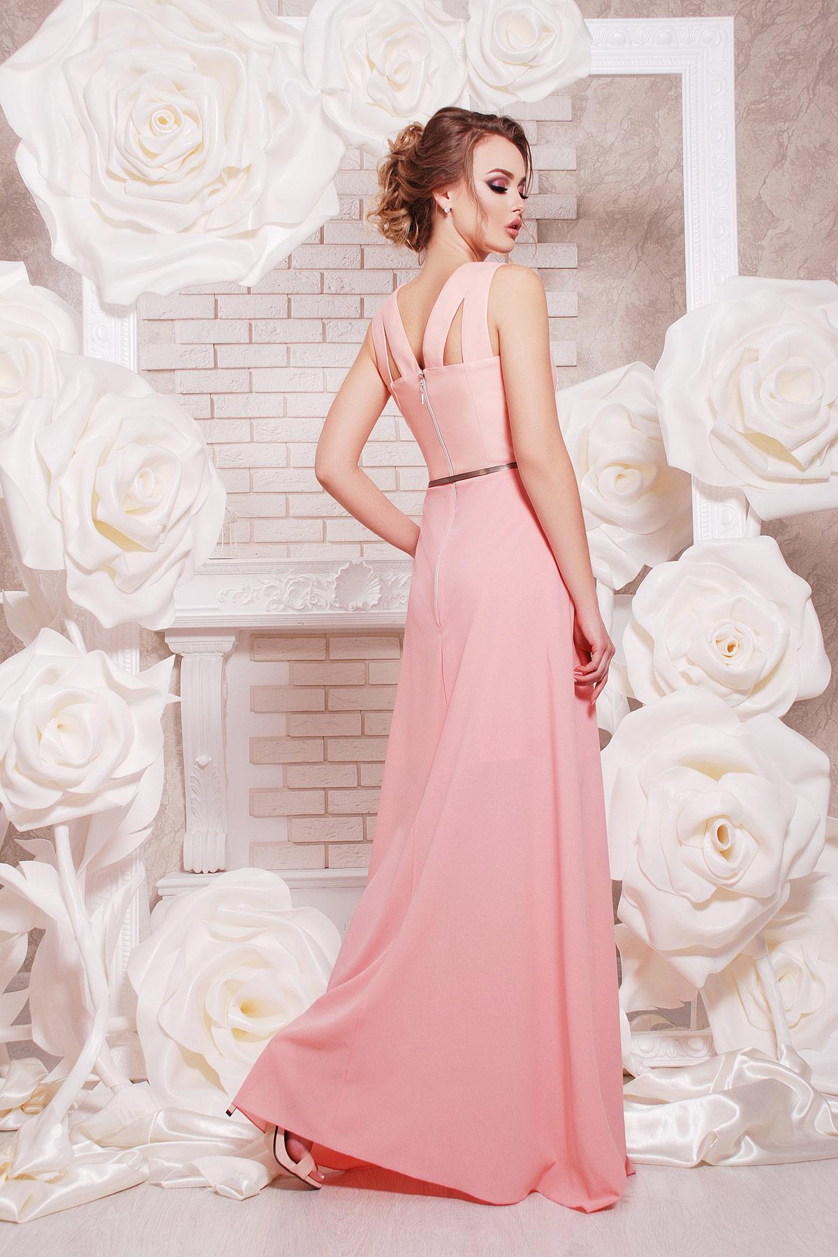 Платье в пол с верхом из экокожи и свободной юбкой. платье Финикс б/р. Цвет: персик
