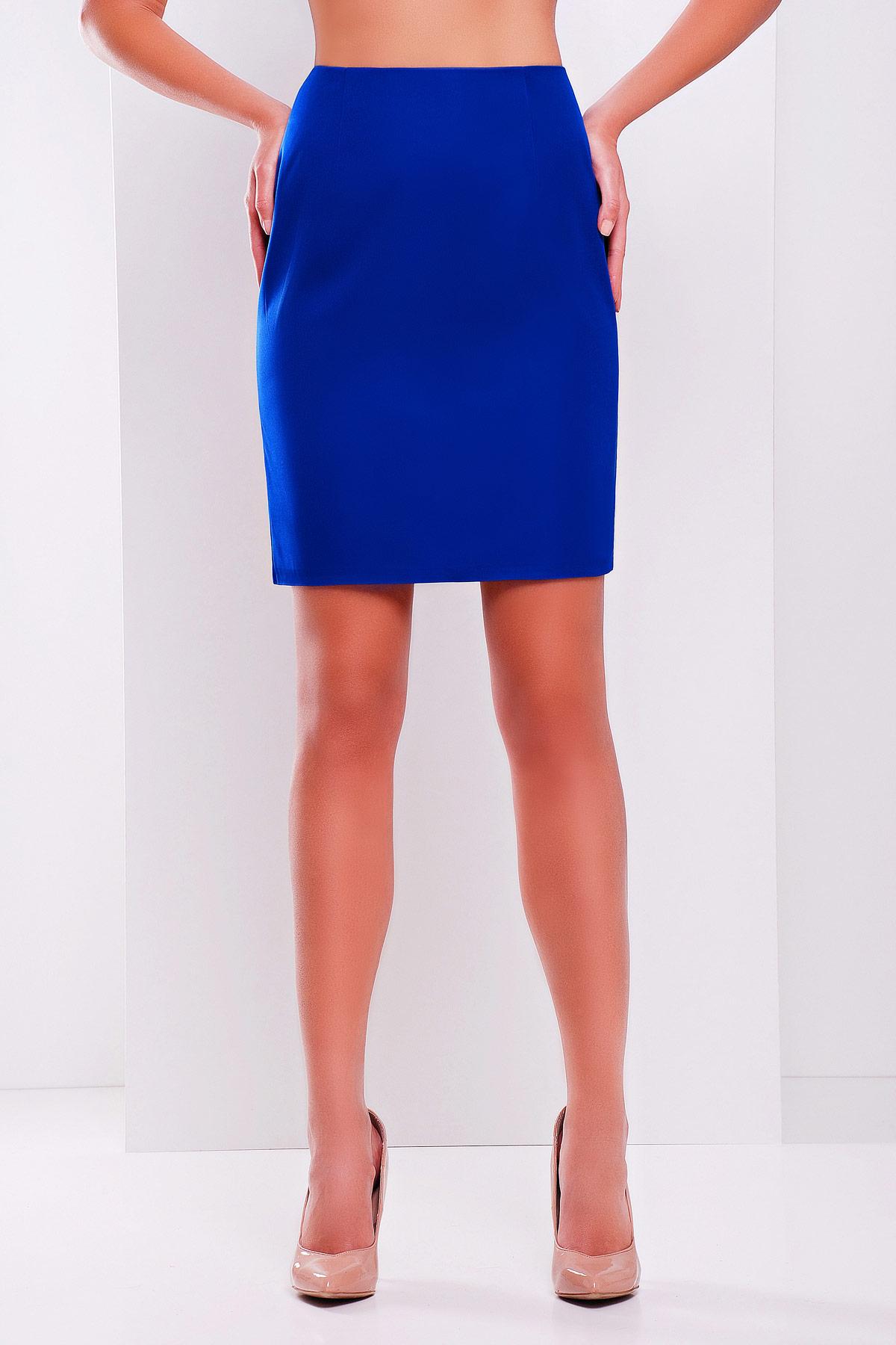 прямая темно-синяя юбка. юбка мод. №1. Цвет: электрик