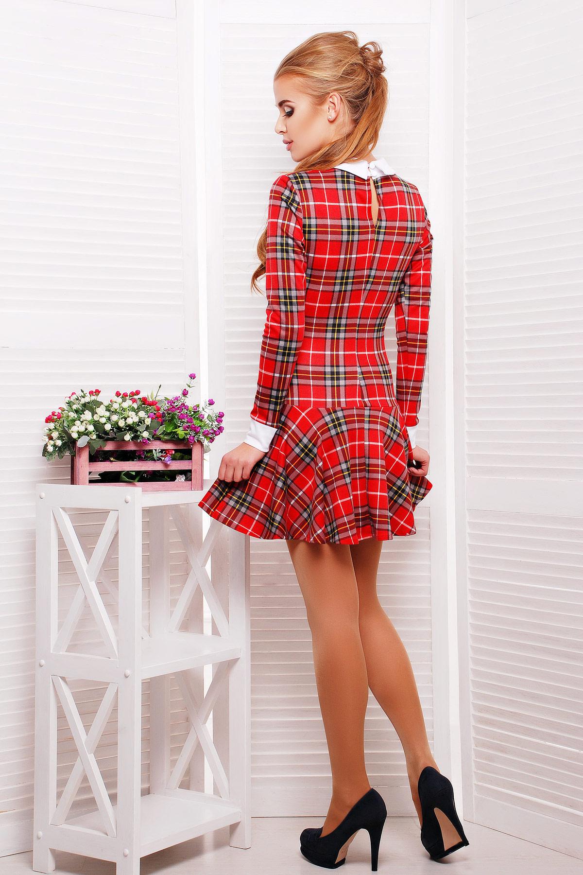 . платье Элис д/р. Цвет: красн.-сер.клетка-бел.отд.