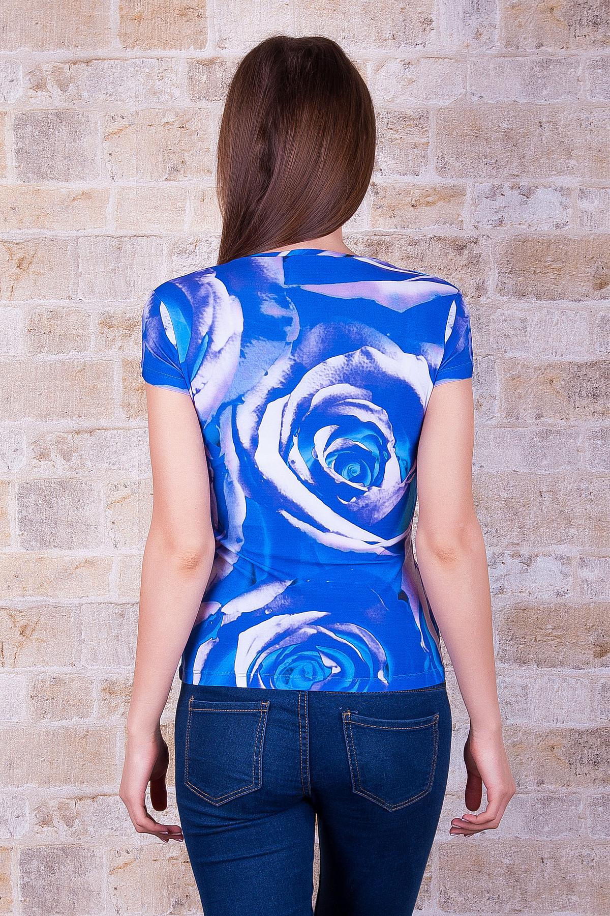 . Розы синие Футболка-1. Цвет: принт