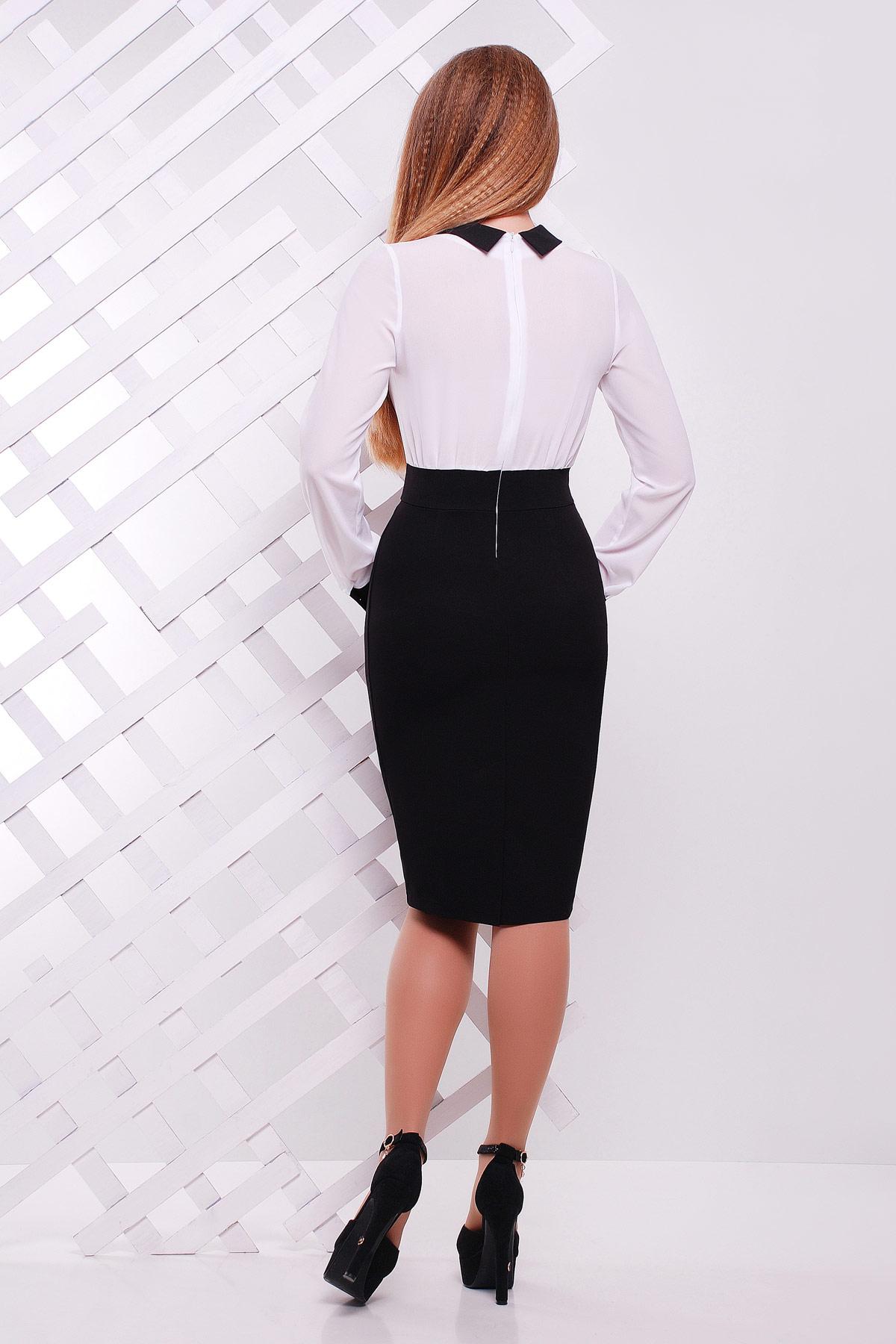 Строгое темно-синее платье с белым верхом. платье Флоренс д/р. Цвет: черный-белая отделка
