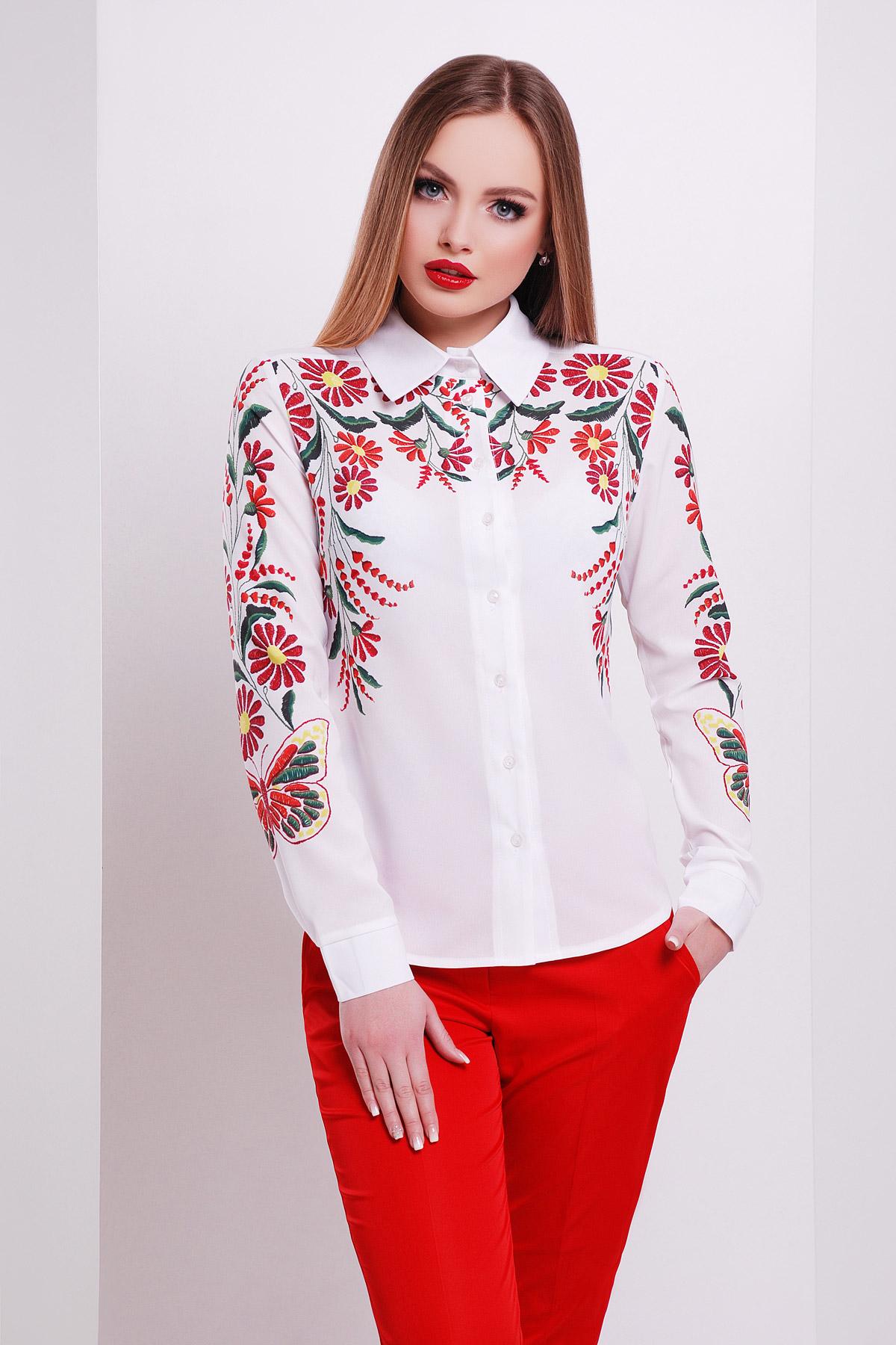 Вышивка-бабочка блуза Верина-3 д/р