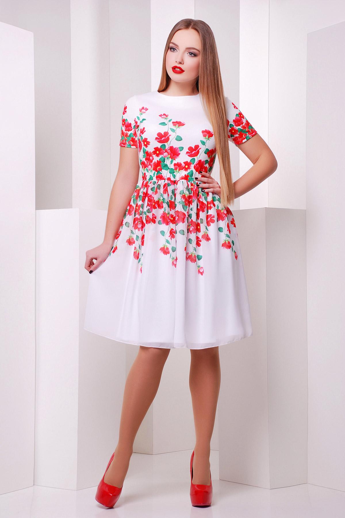 Красные цветы платье Мияна к/р