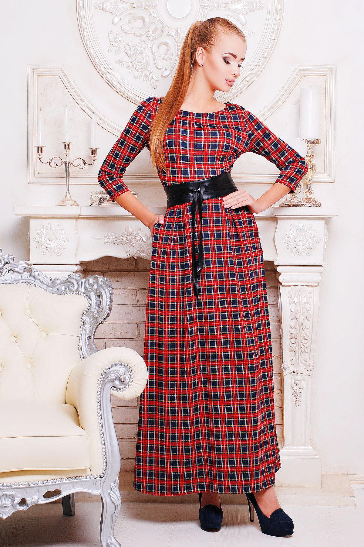 Серое платье макси, украшенное лапкой и розами. платье Шарли д/р. Цвет: т.синий-красн.м.клетка