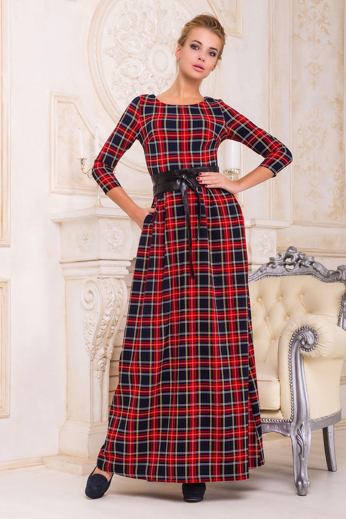 Серое платье макси, украшенное лапкой и розами. платье Шарли д/р. Цвет: т.синий-красный б.клетка