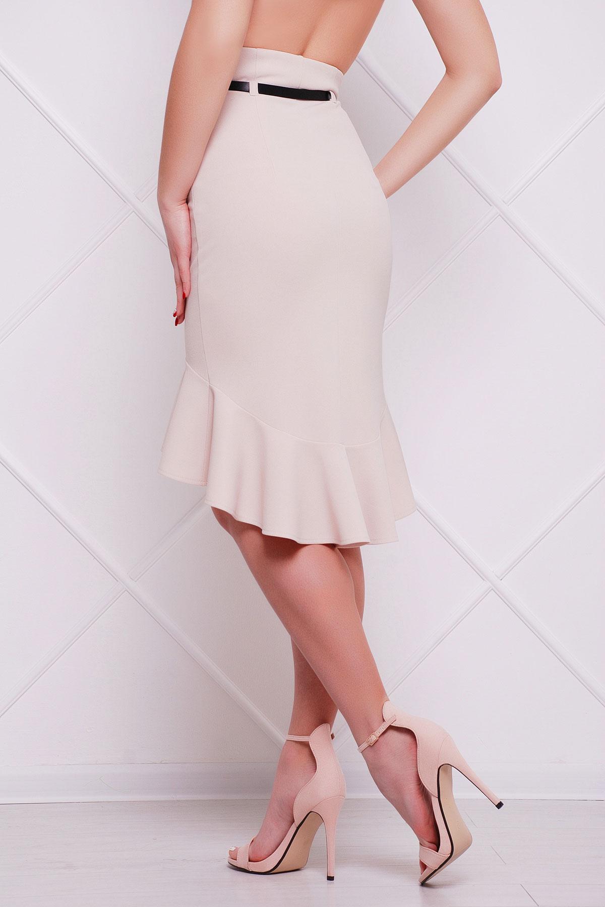 черная юбка с поясом и воланом. юбка мод. №26. Цвет: светло бежевый