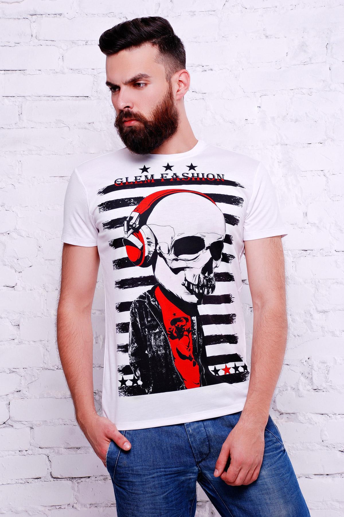 белая мужская футболка с черепом. Череп в наушниках Футболка Men-2В. Цвет: принт