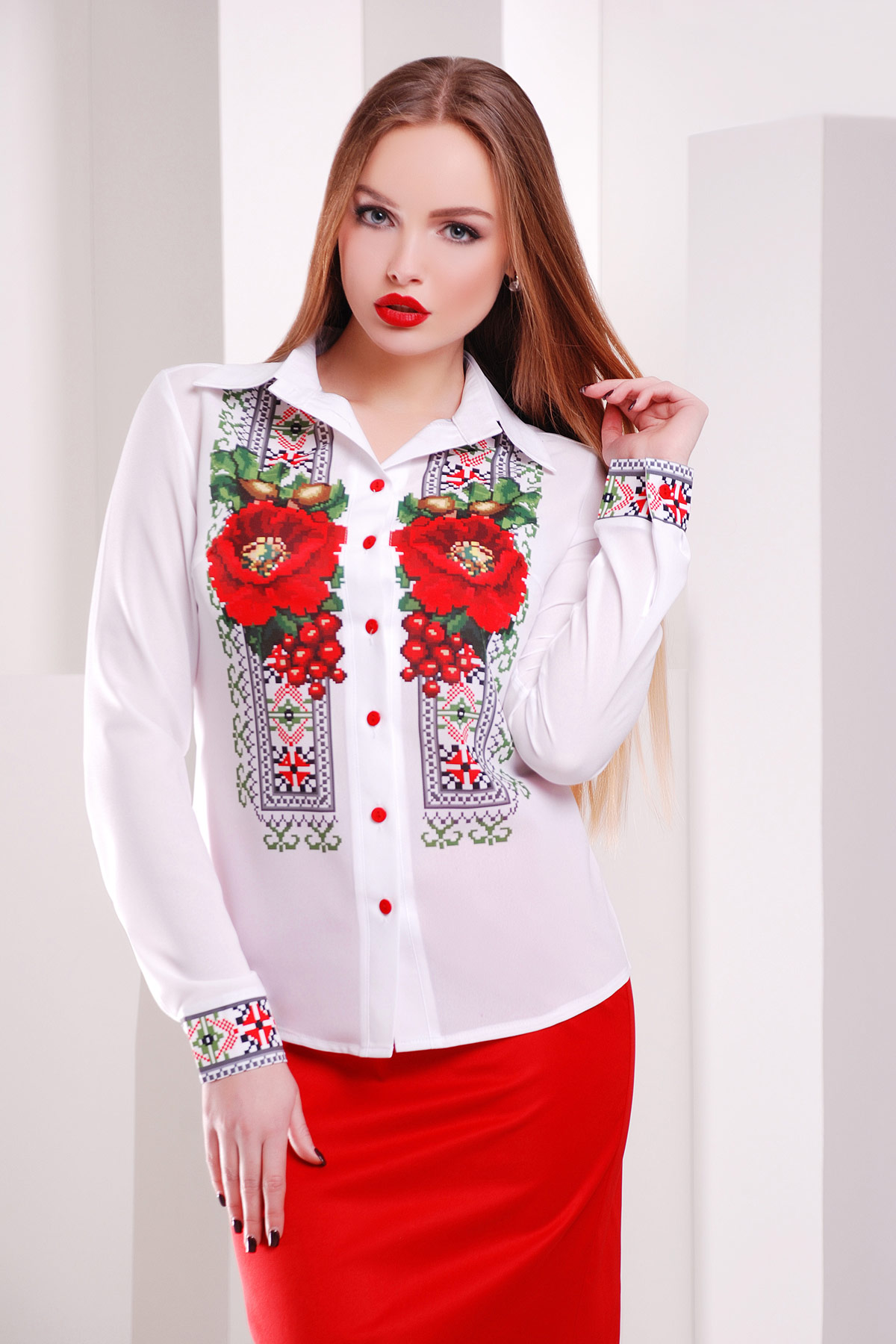 Вышивка-маки блуза Верина-2 д/р