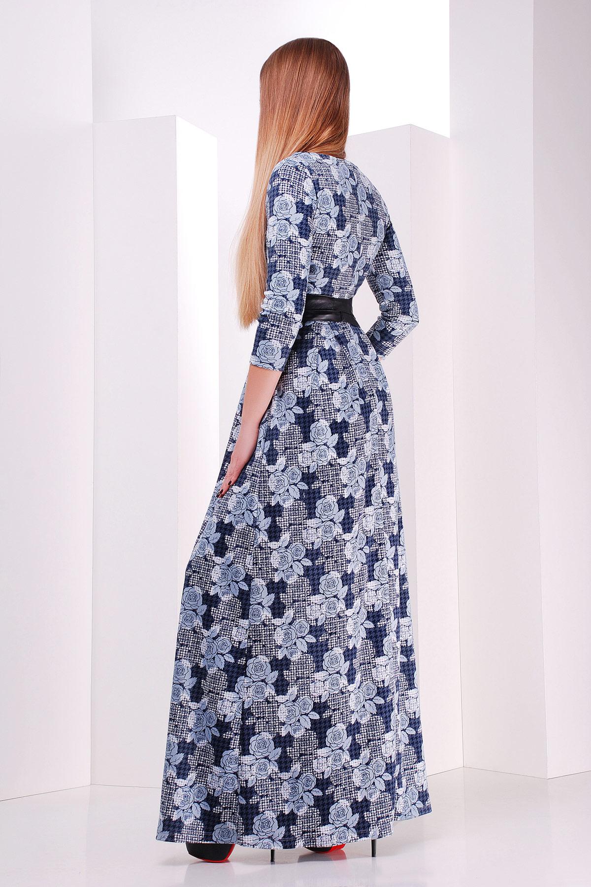 Серое платье макси, украшенное лапкой и розами. платье Шарли д/р. Цвет: серый-лапка-роза