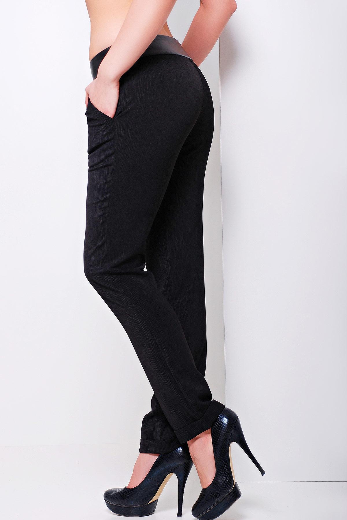 черные трикотажные прямые женские брюки. брюки Хелен. Цвет: черный-черная отделка