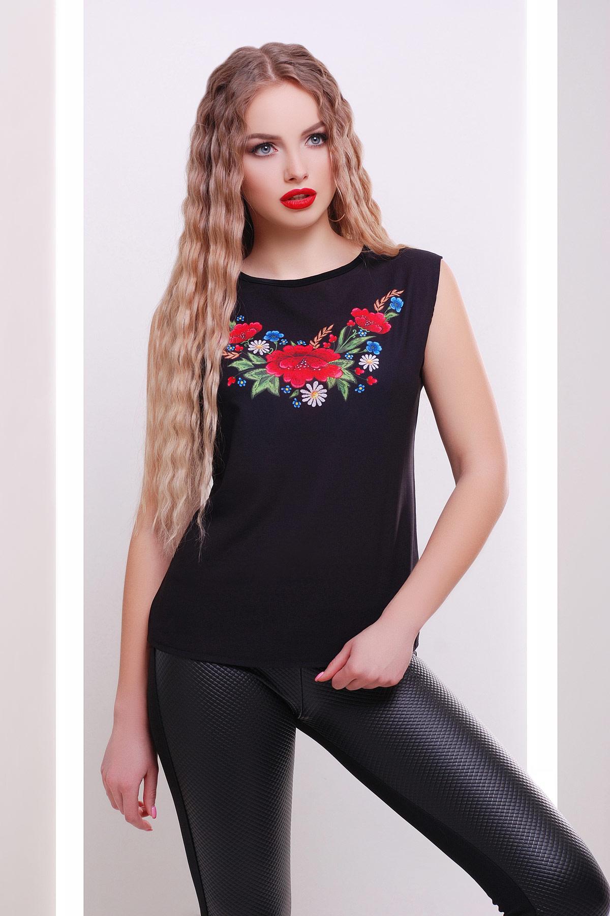 Вышивка-цветы футболка Киви б/р