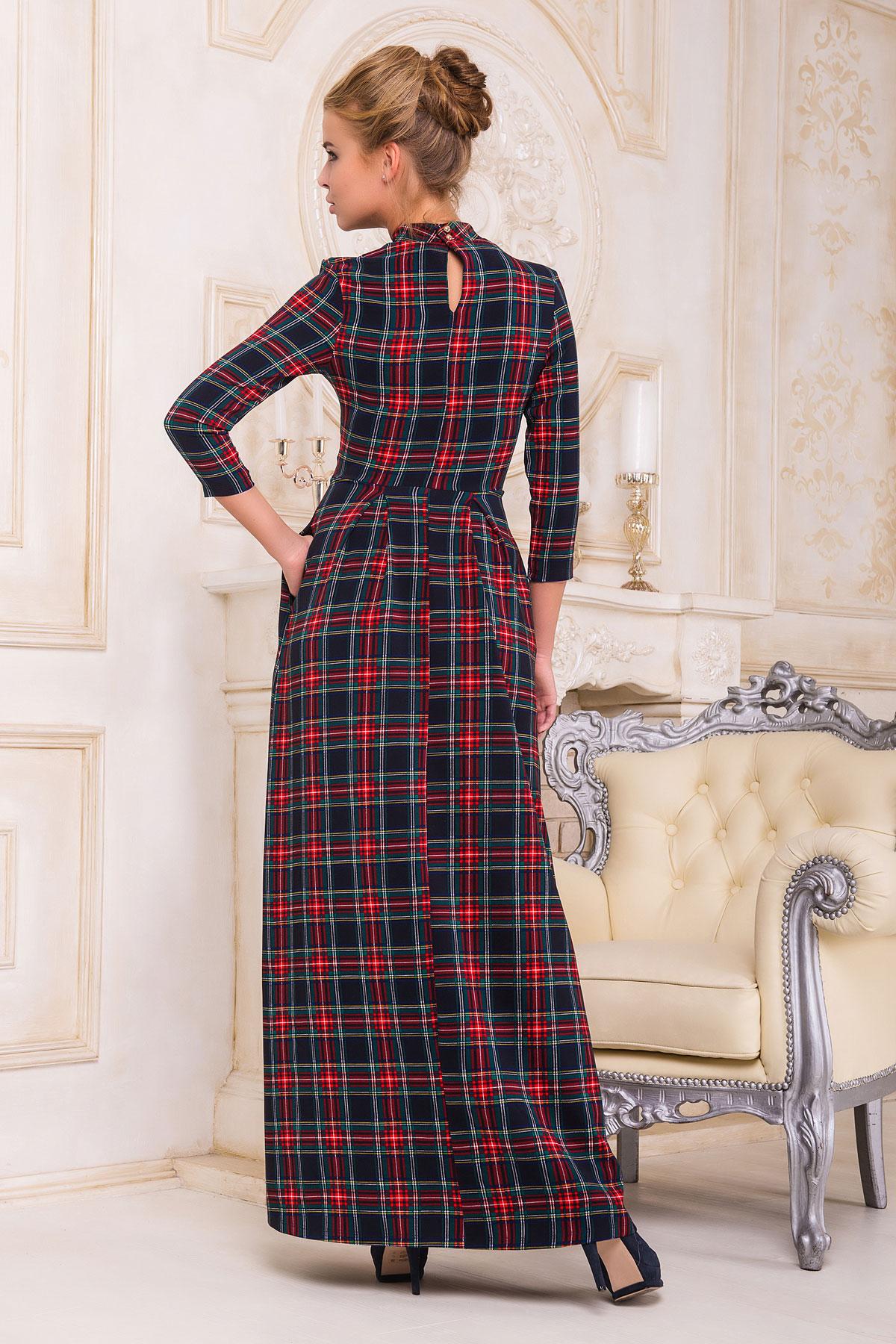 . платье Шарлота4 д/р. Цвет: синий-красная Б клетка