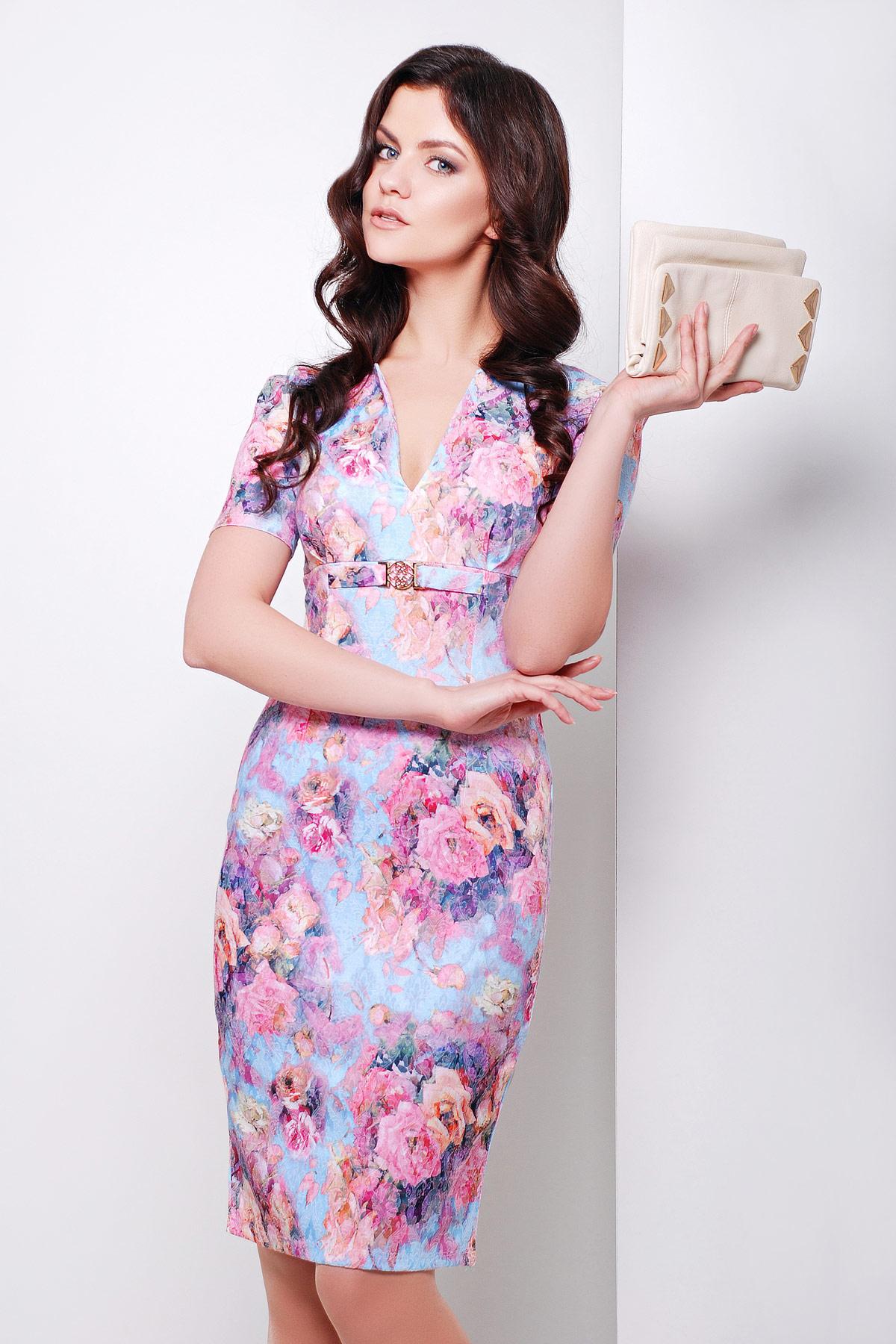 . платье Энжи к/р. Цвет: голуб.-розов.цветы