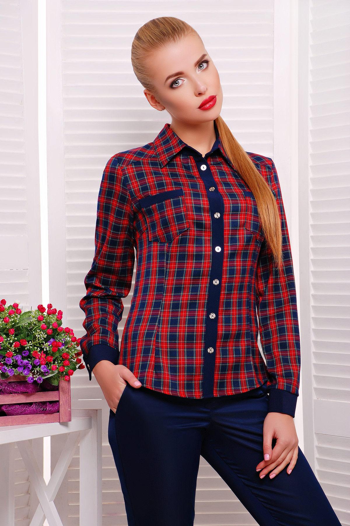женская блузка в клетку. блуза Шотландка2 д/р. Цвет: красный-т.синий клетка