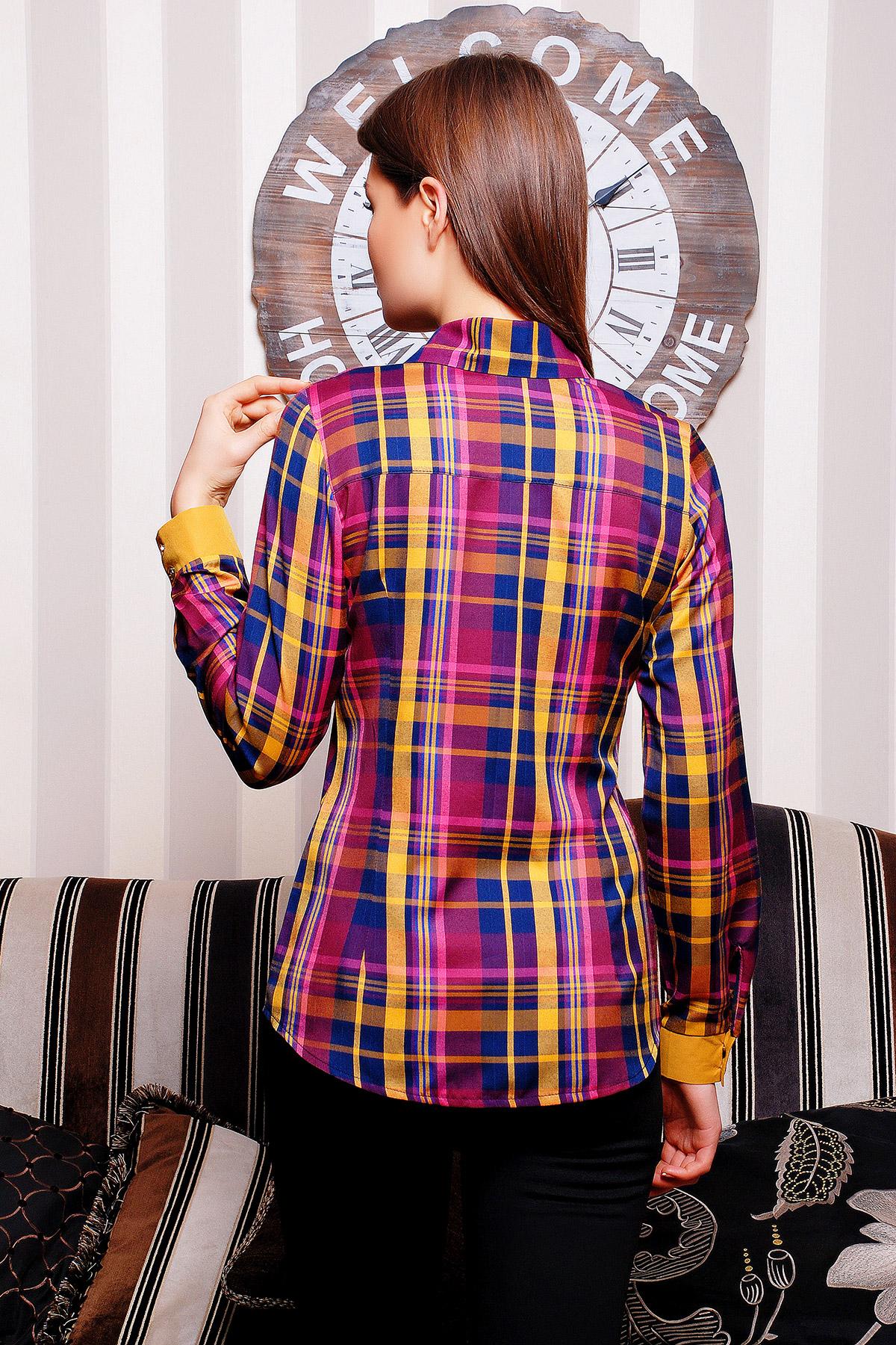 . блуза Шотландка д/р. Цвет: горчичный-т.синяя отд