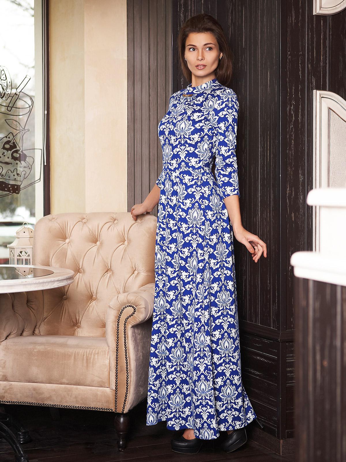 . платье Шарлота д/р. Цвет: электрик-белый узор