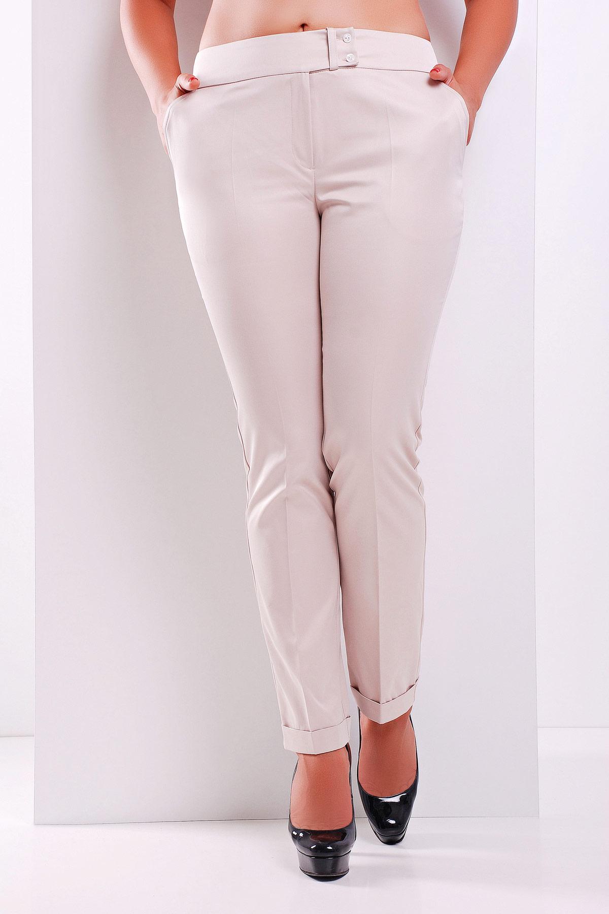 женские светлые брюки больших размеров. брюки Хилори-Б. Цвет: св. бежевый