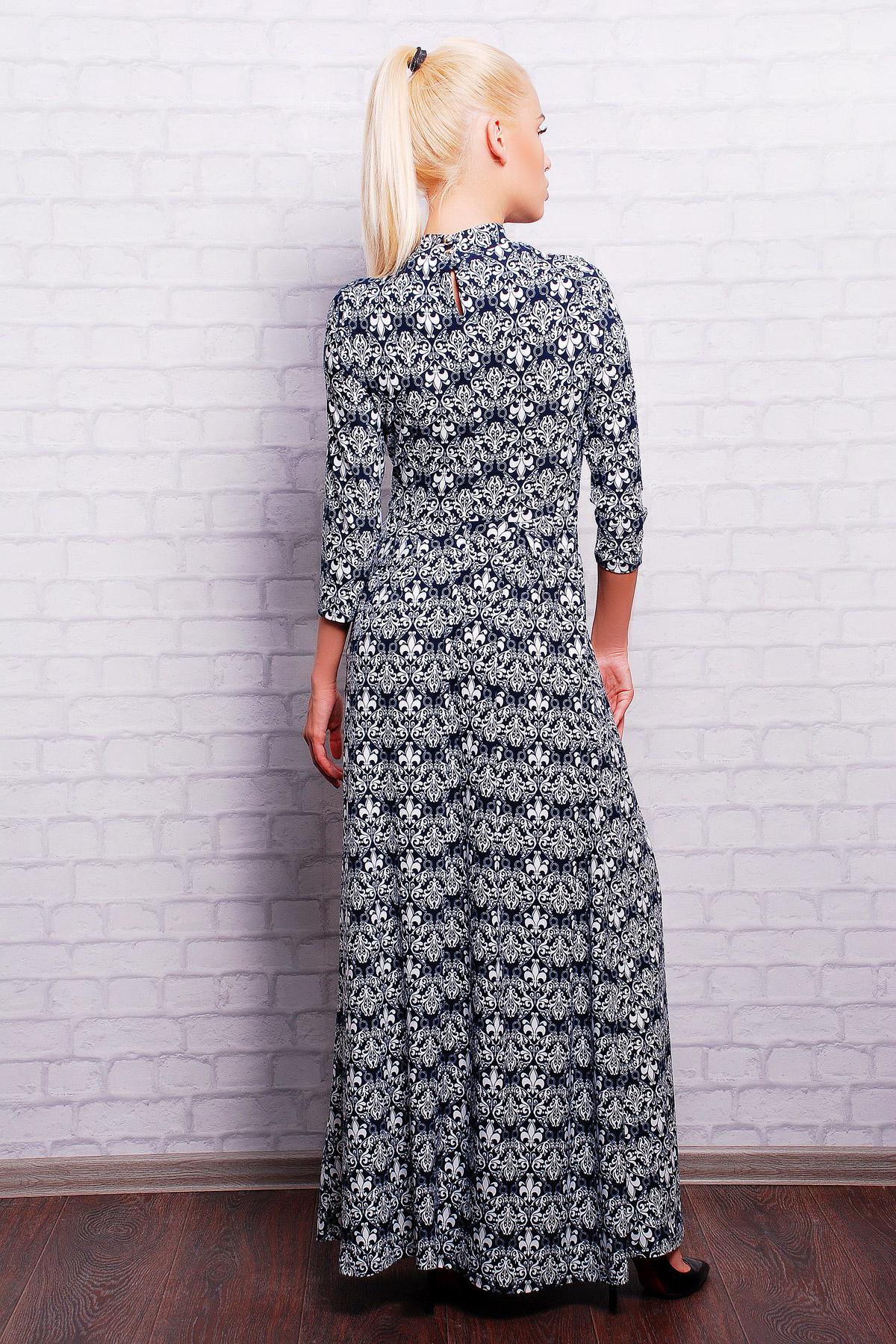 . платье Шарлота2 д/р. Цвет: т.синий-белый узор