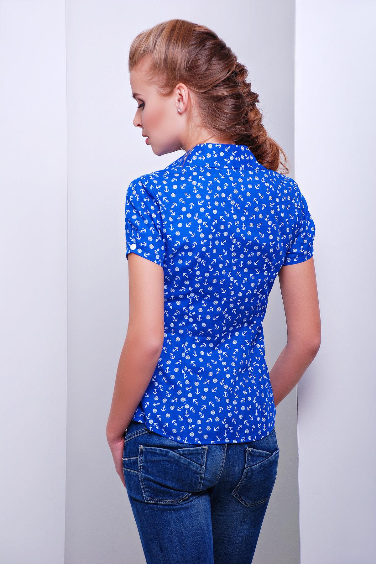 белая блуза из шифона с морским принтом и коротким рукавом. блуза Якира к/р. Цвет: электрик-якорь