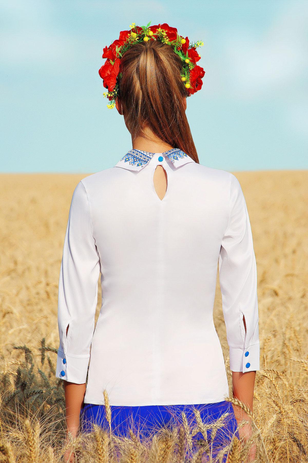 Узор синий блуза Василиса д/р