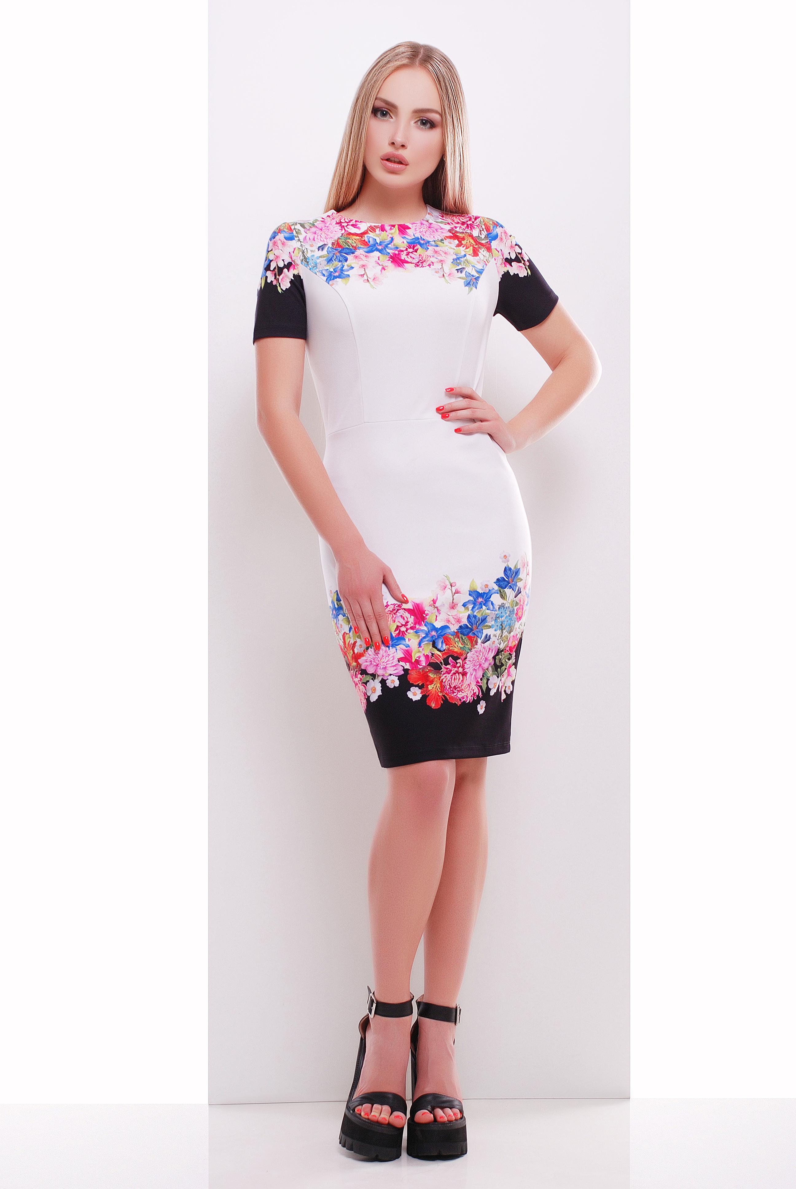 Цветочный букет платье Лана-1 к/р
