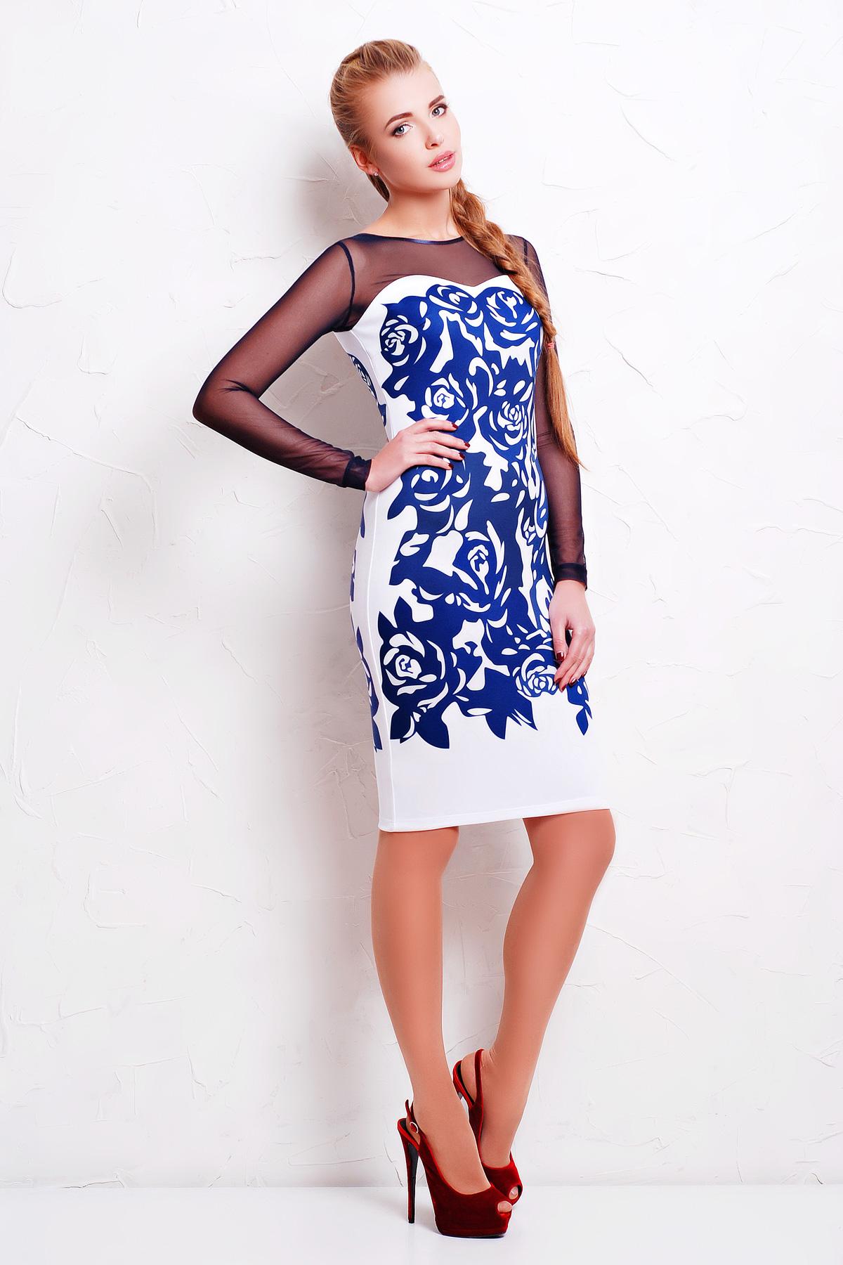 Темно синие розы платье Донна д/р
