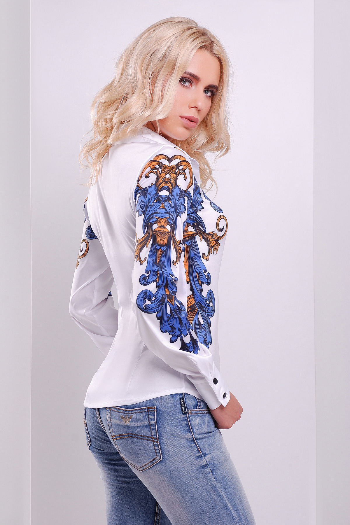 Узор сине-оранжевый блуза Ларси-3 д/р