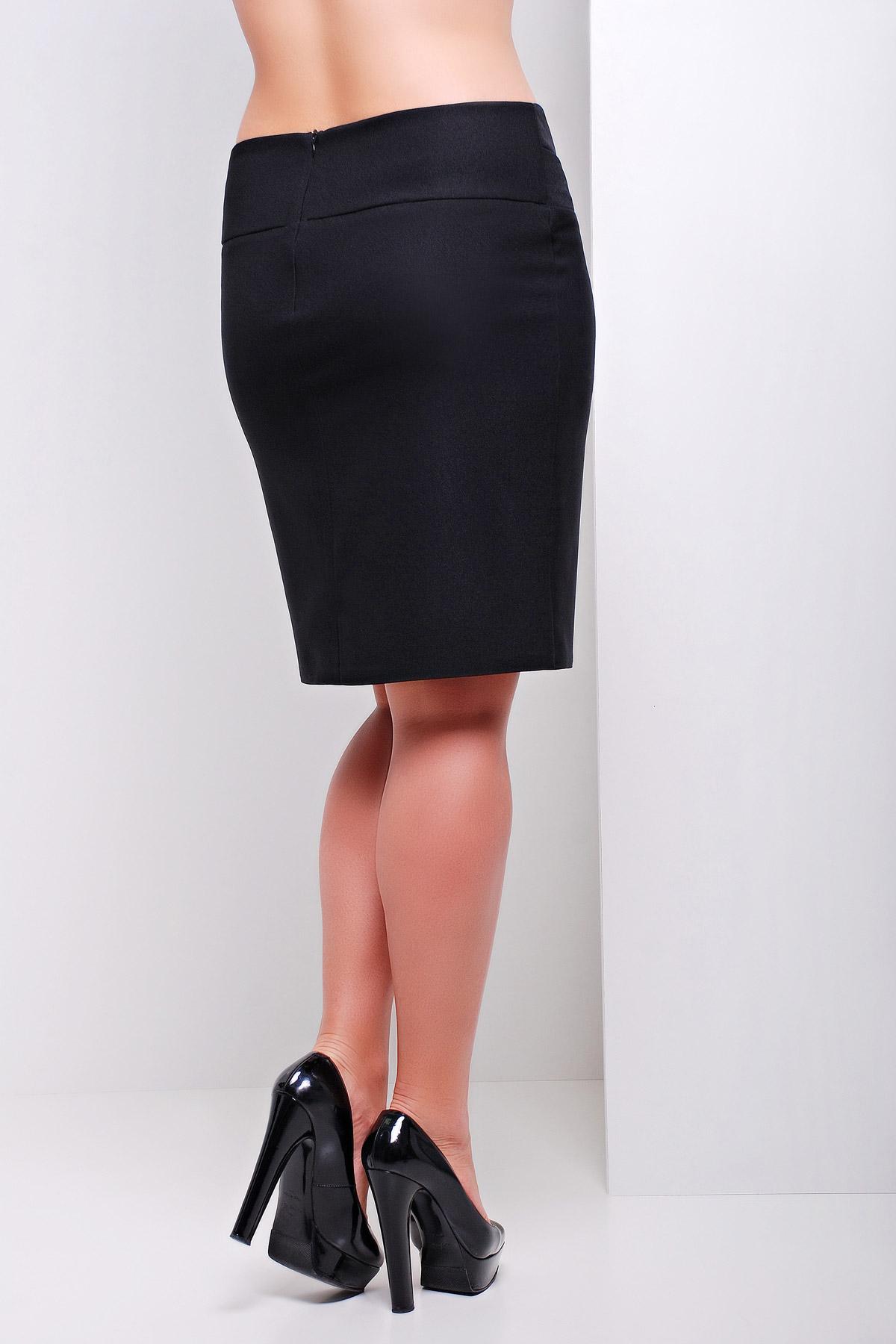 черная офисная юбка батал из костюмного шелка. юбка мод. №15 Б. Цвет: черный