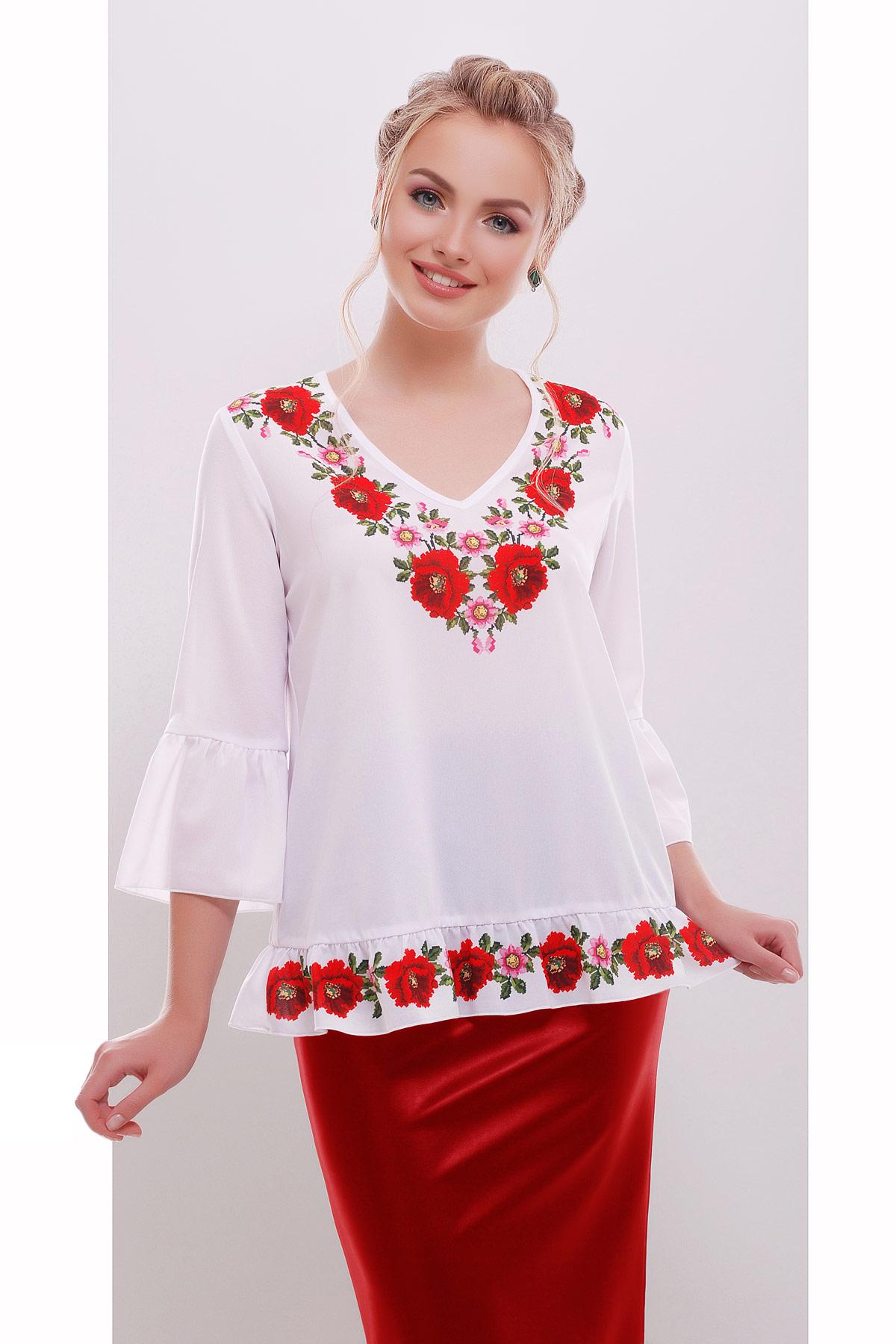 Вышивка-маки блуза Ладмила д/р