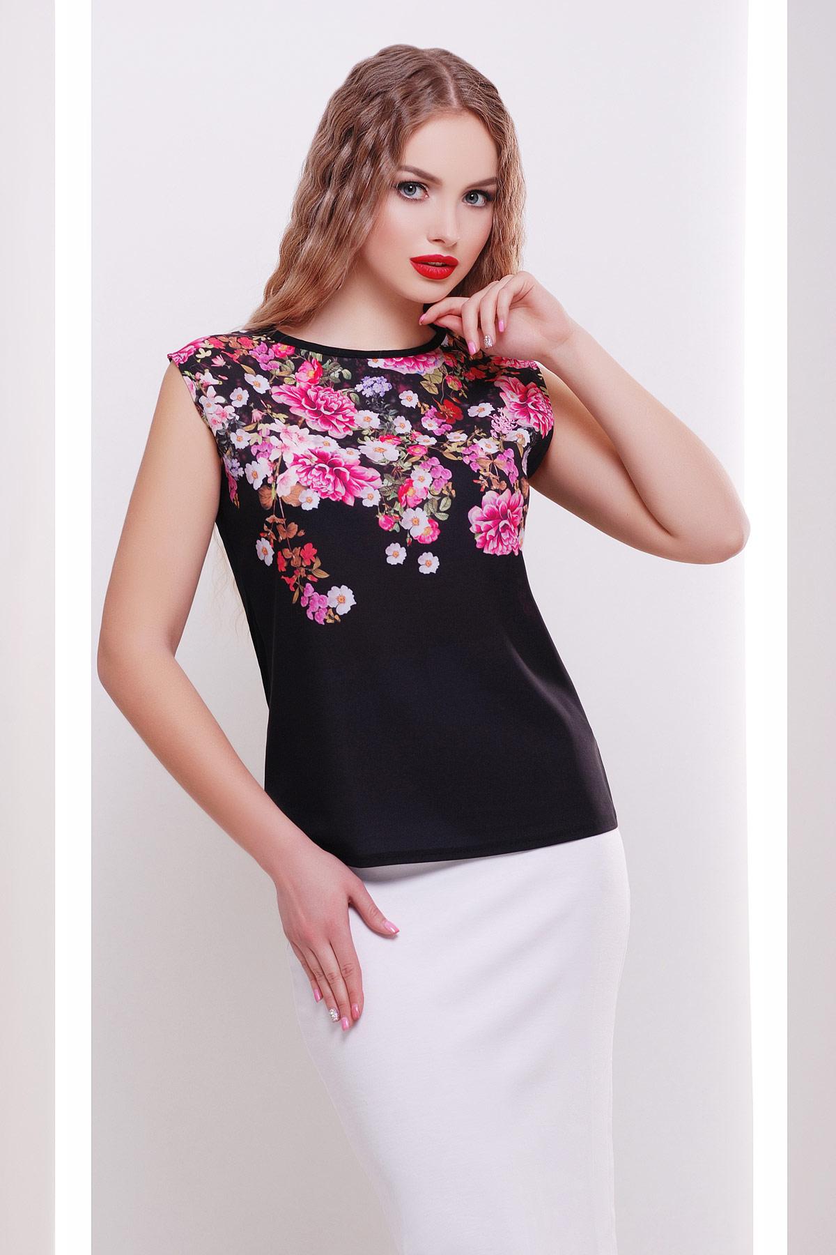 Хризантемы черный футболка Киви б/р
