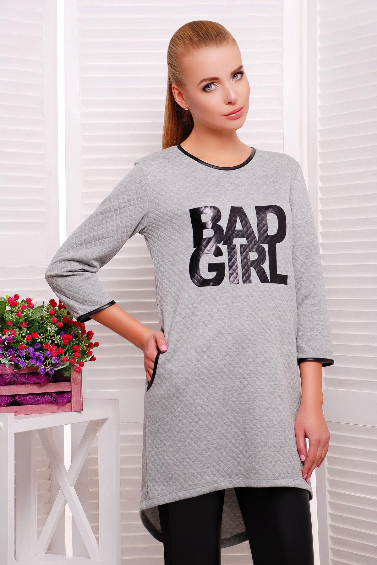 . платье Фрэнки д/р. Цвет: серый ромб-черн. отделка
